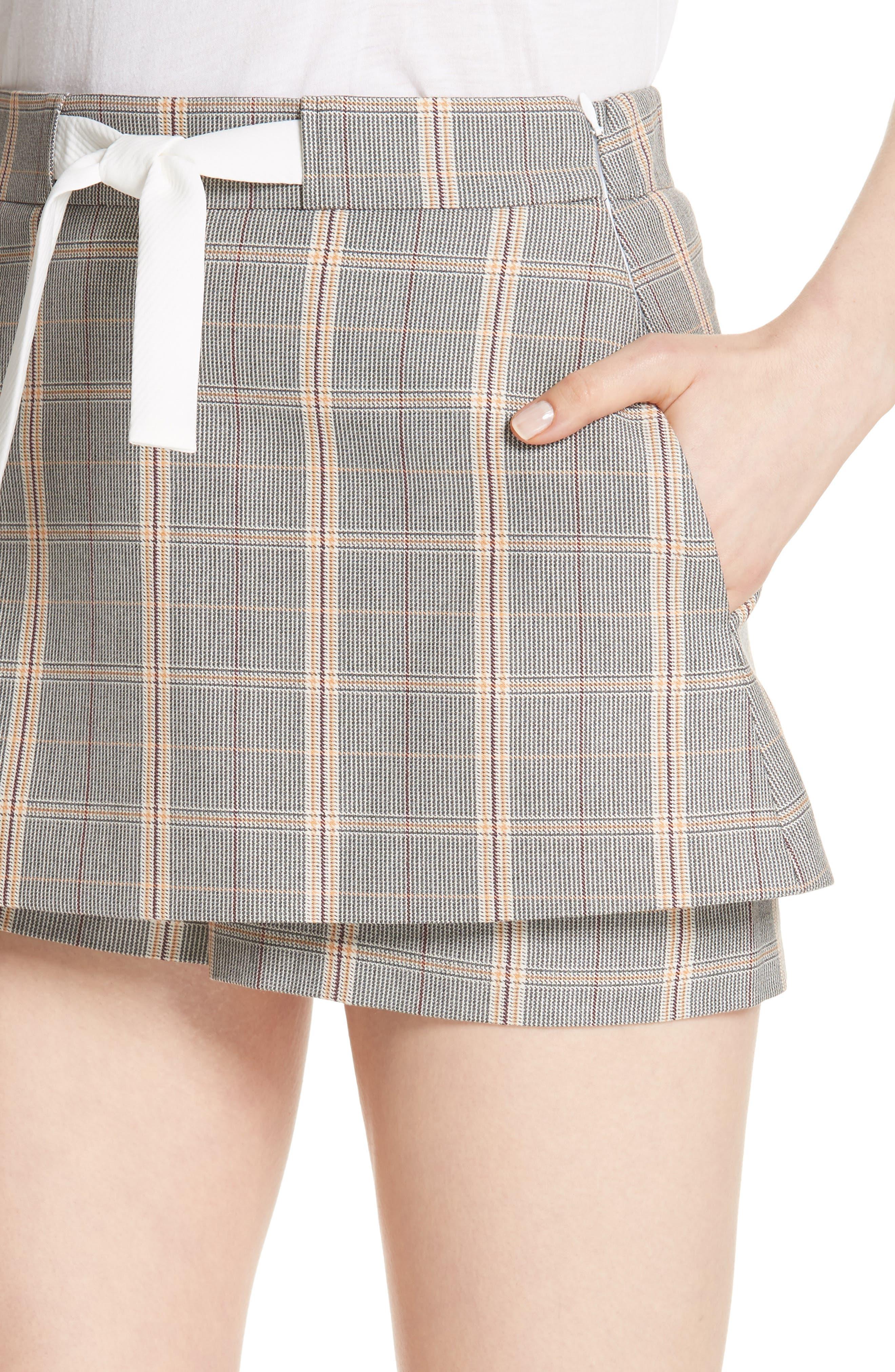 Plaid Skirt Front Shorts,                             Alternate thumbnail 4, color,                             020