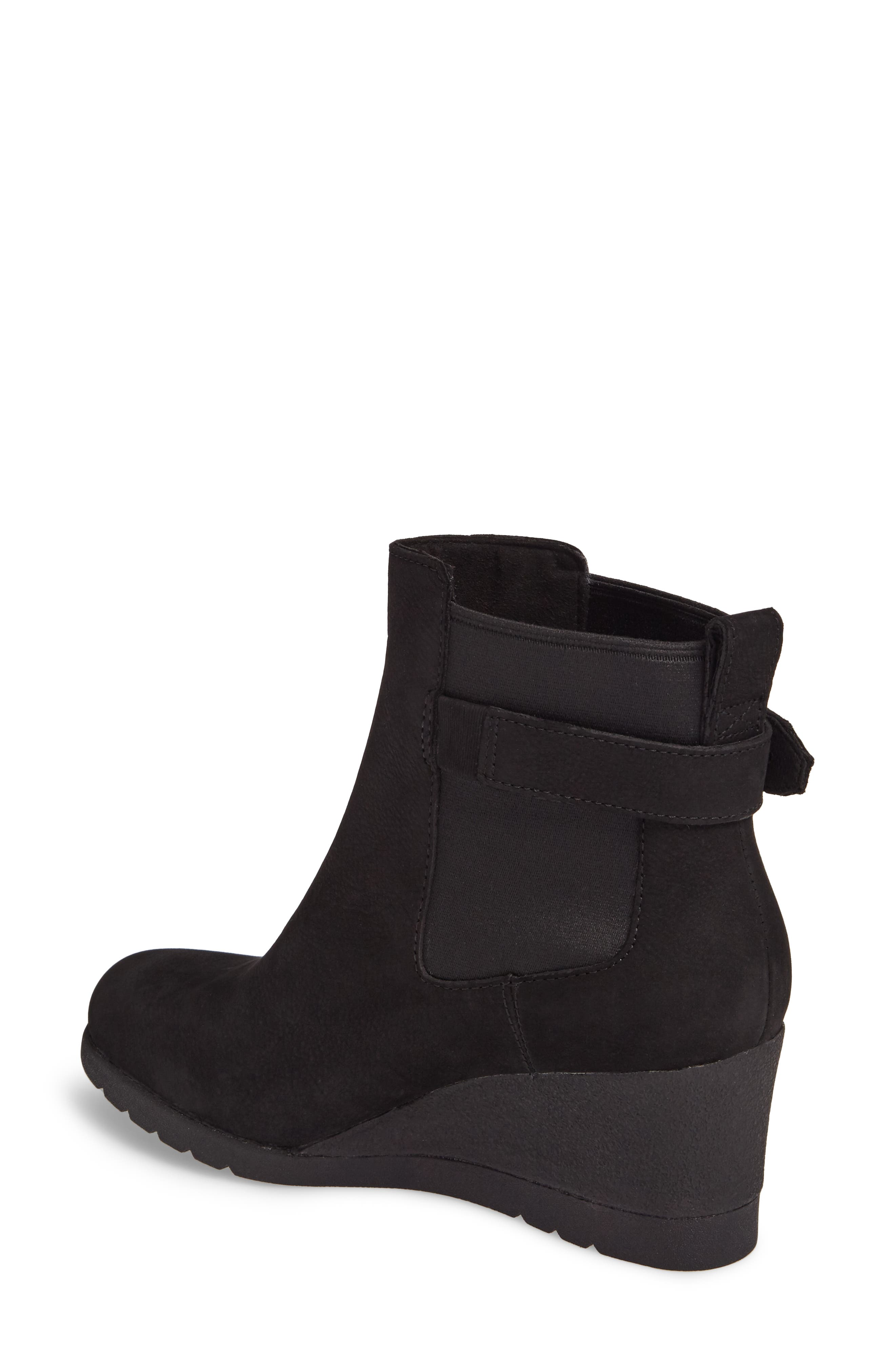 Waterproof Insulated Wedge Boot,                             Alternate thumbnail 2, color,                             BLACK LEATHER