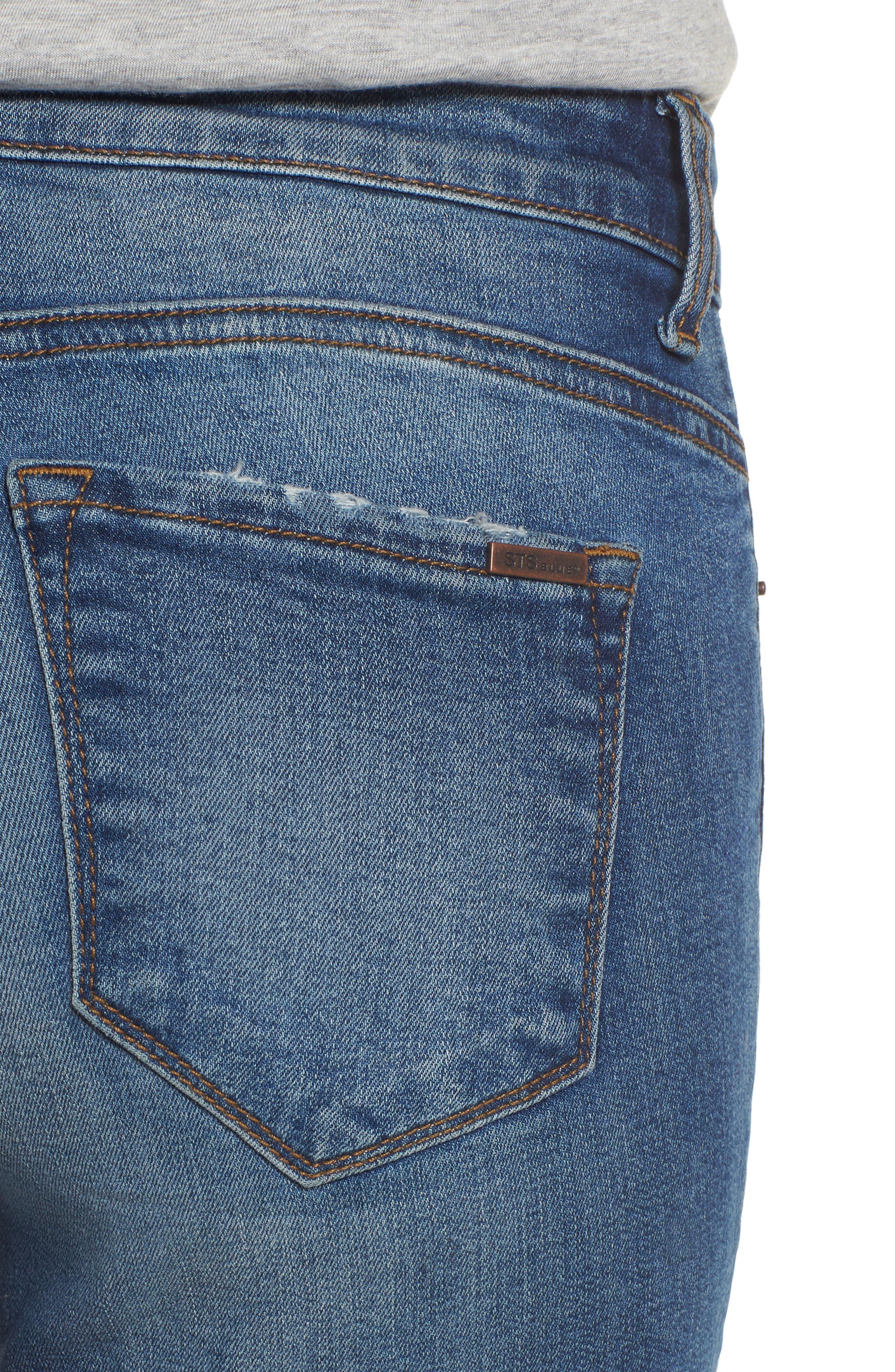 Cuffed Bermuda Denim Shorts,                             Alternate thumbnail 4, color,                             406