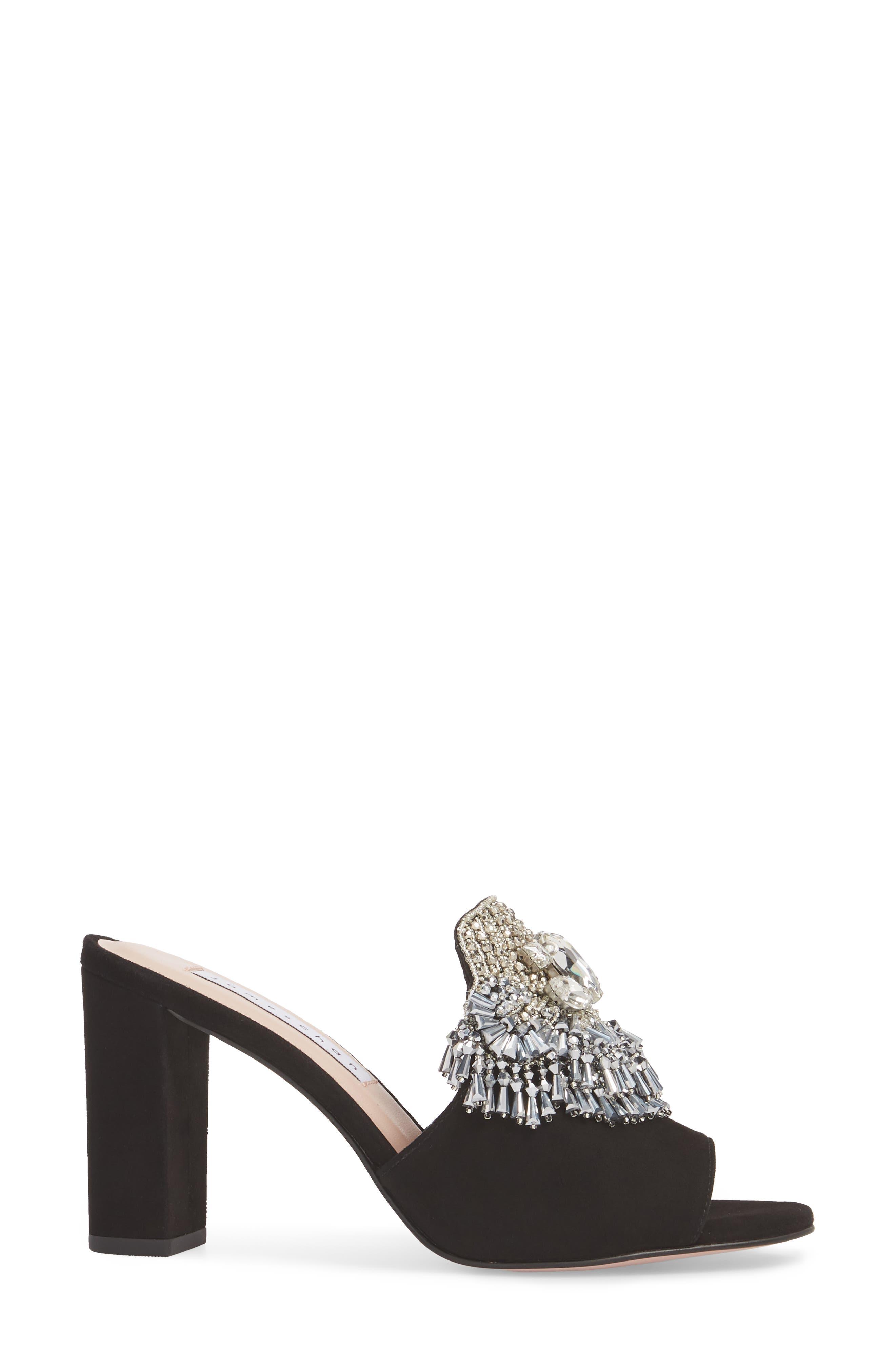 Adele Embellished Block Heel Sandal,                             Alternate thumbnail 3, color,                             001