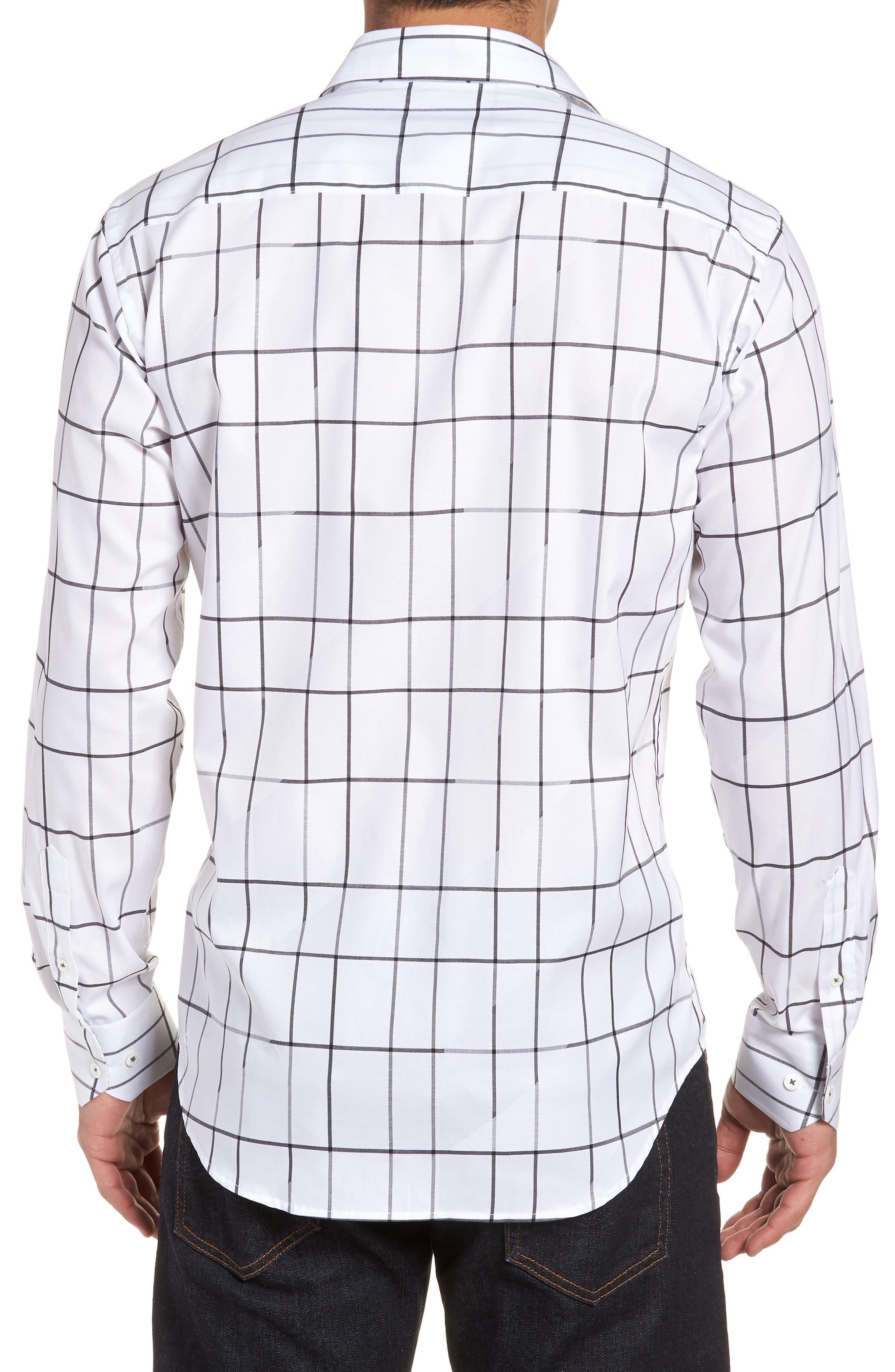 Shaped Fit Check Sport Shirt,                             Alternate thumbnail 2, color,                             100