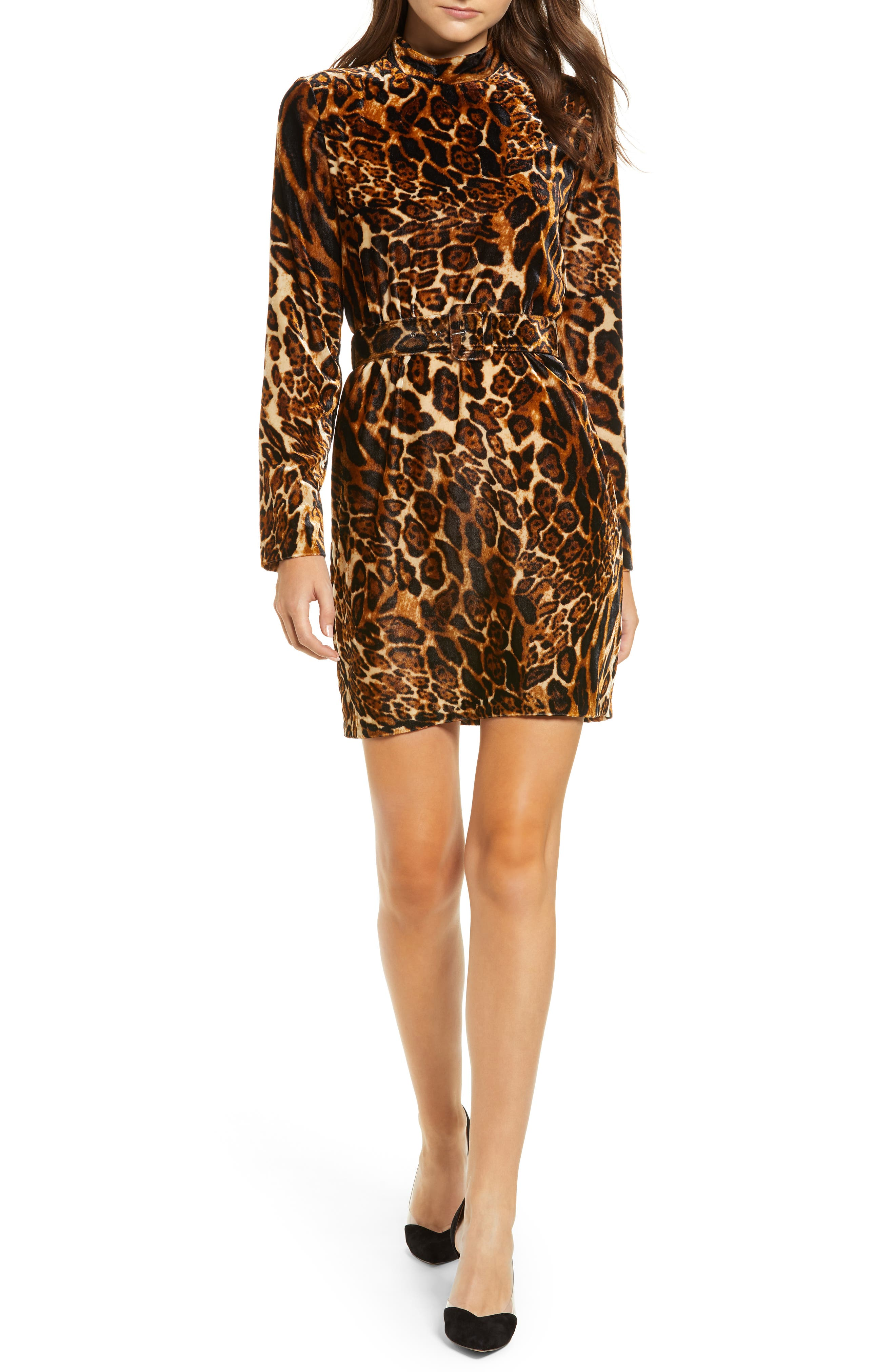 Peggy Mock Neck Velvet Dress,                             Main thumbnail 1, color,                             LEOPARD