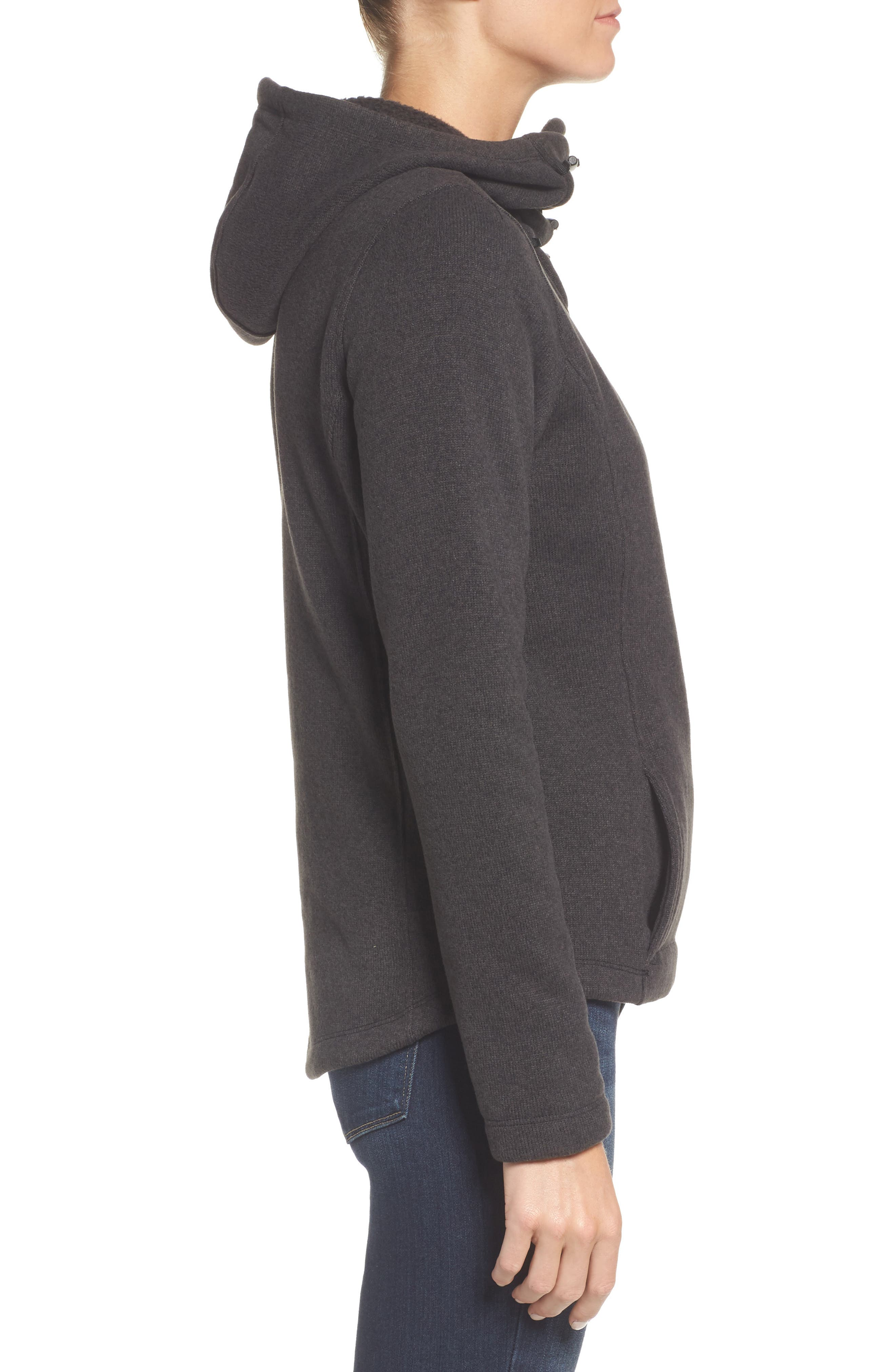 Crescent Hooded Pullover,                             Alternate thumbnail 3, color,                             TNF BLACK HEATHER