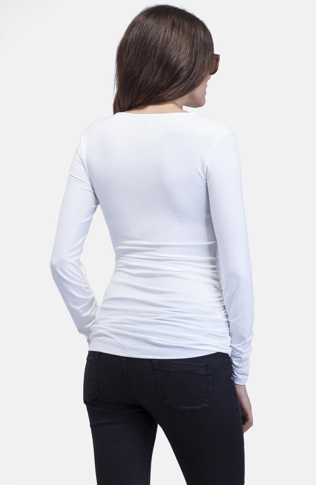 'The Scoop' Maternity Top,                             Alternate thumbnail 4, color,                             PURE WHITE