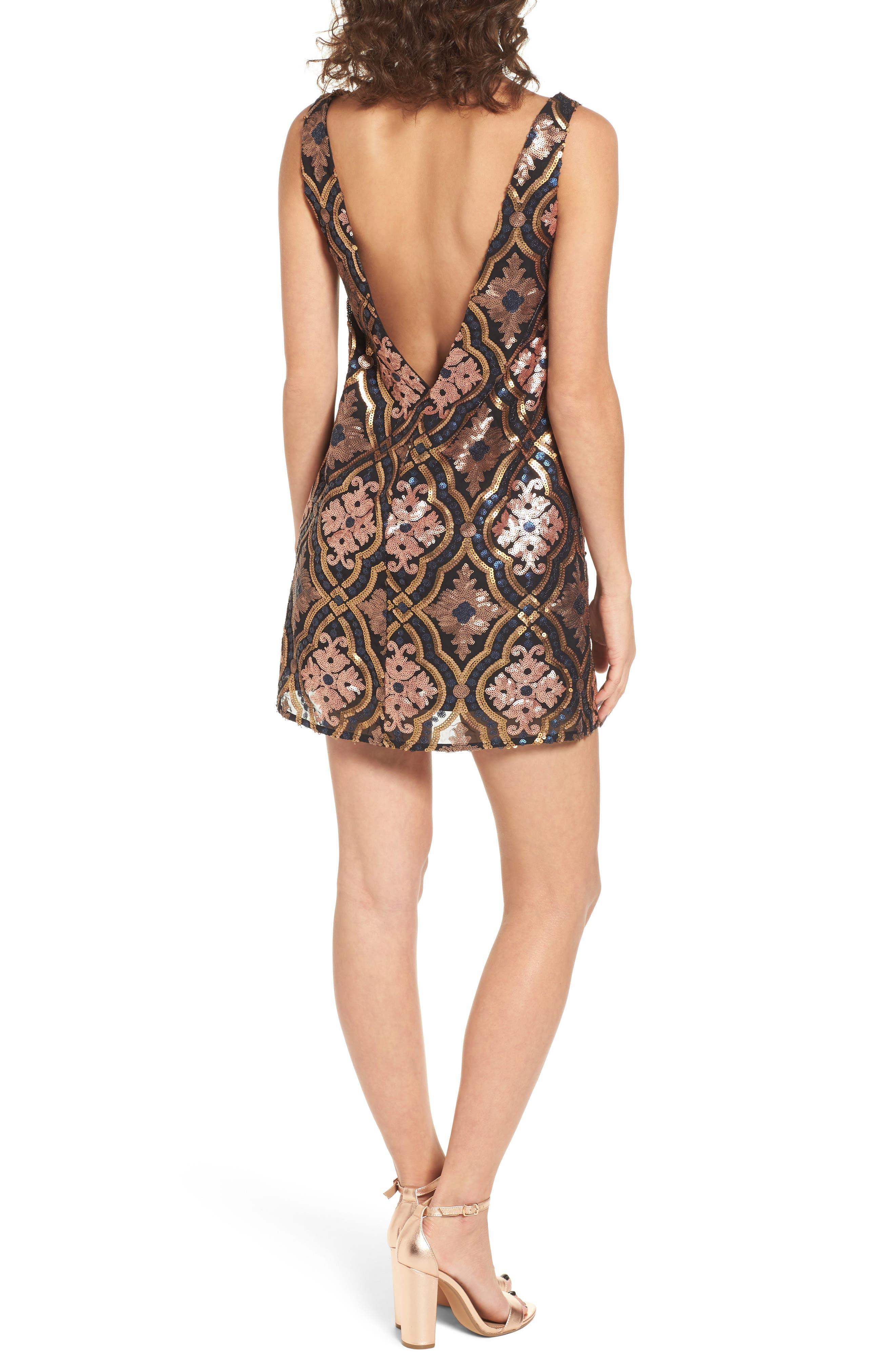 Double Dipper Sequin Dress,                             Alternate thumbnail 2, color,                             001