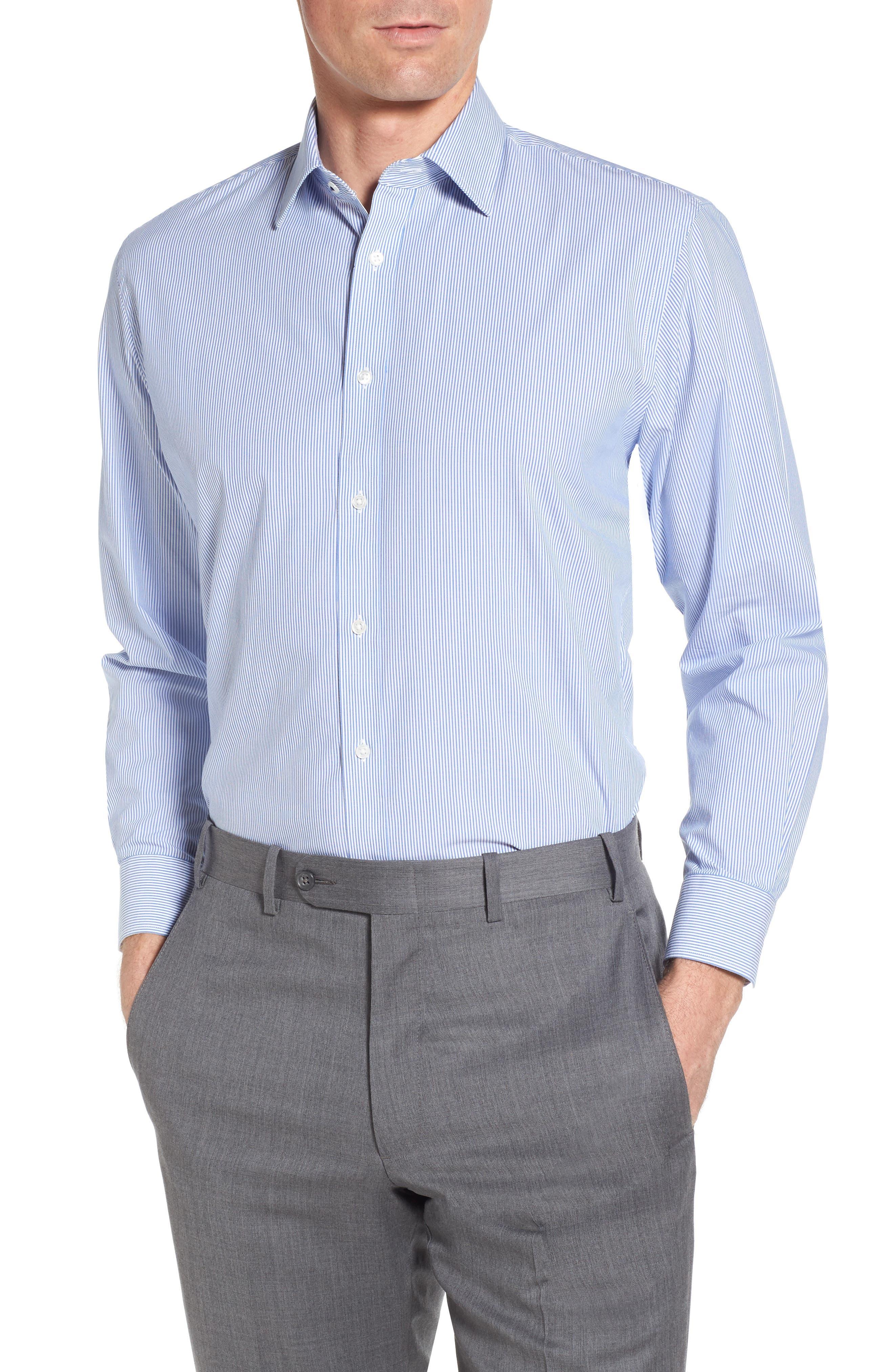 Tech-Smart Traditional Fit Stretch Stripe Dress Shirt,                         Main,                         color, 420