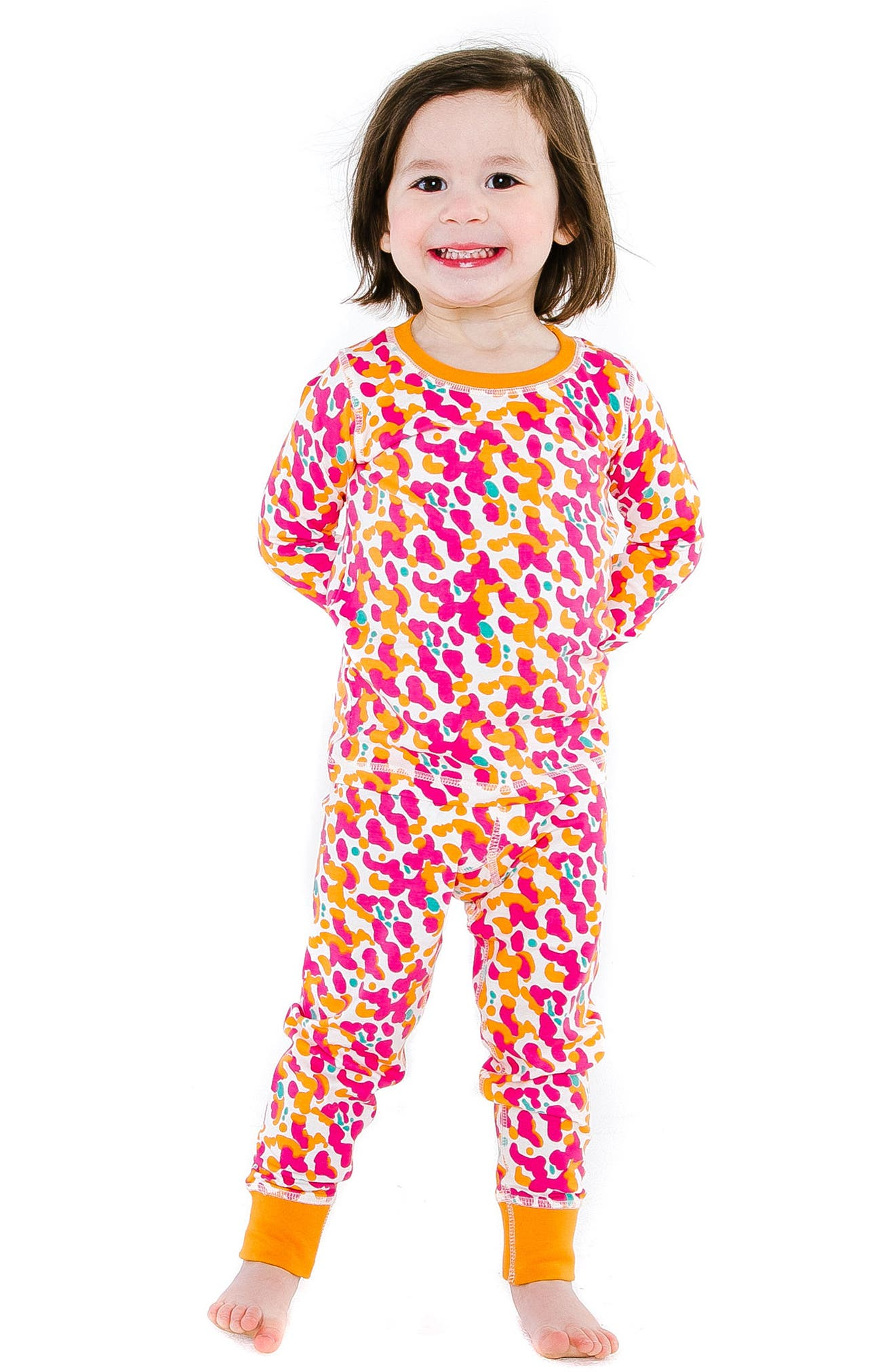 Spotted Organic Cotton Fitted Two-Piece Pajamas,                             Alternate thumbnail 3, color,                             424