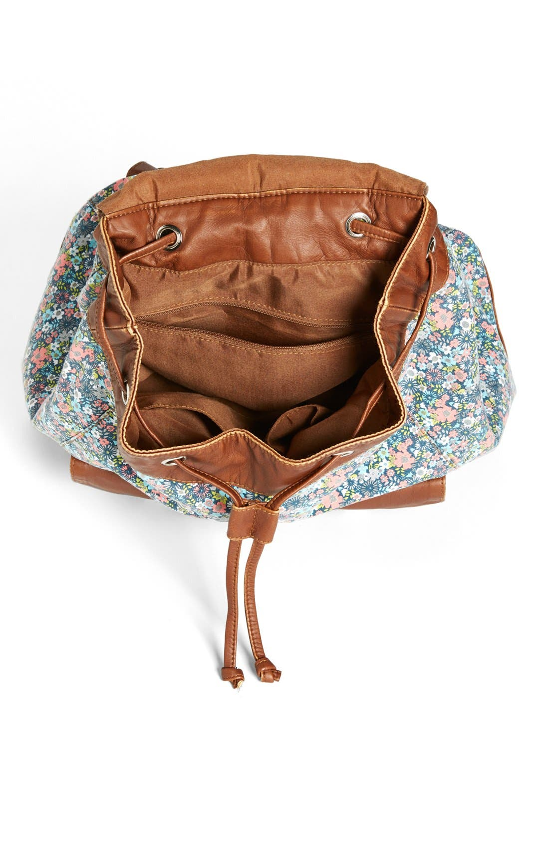Faux Leather Trim Floral Backpack,                             Alternate thumbnail 4, color,