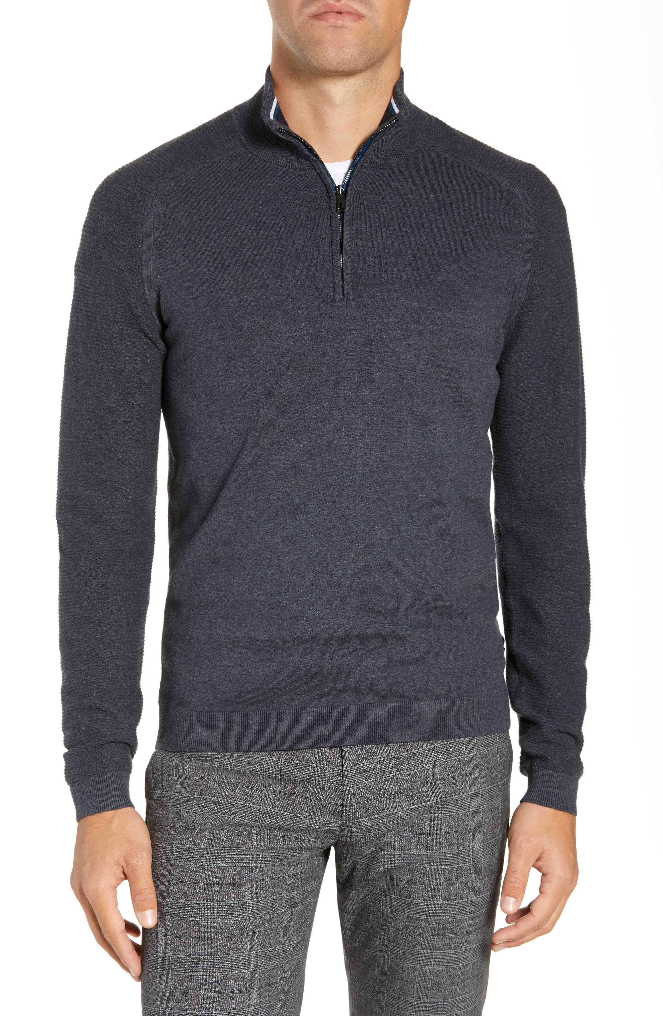Just Run Trim Fit Funnel Neck Pullover,                         Main,                         color, CHARCOAL