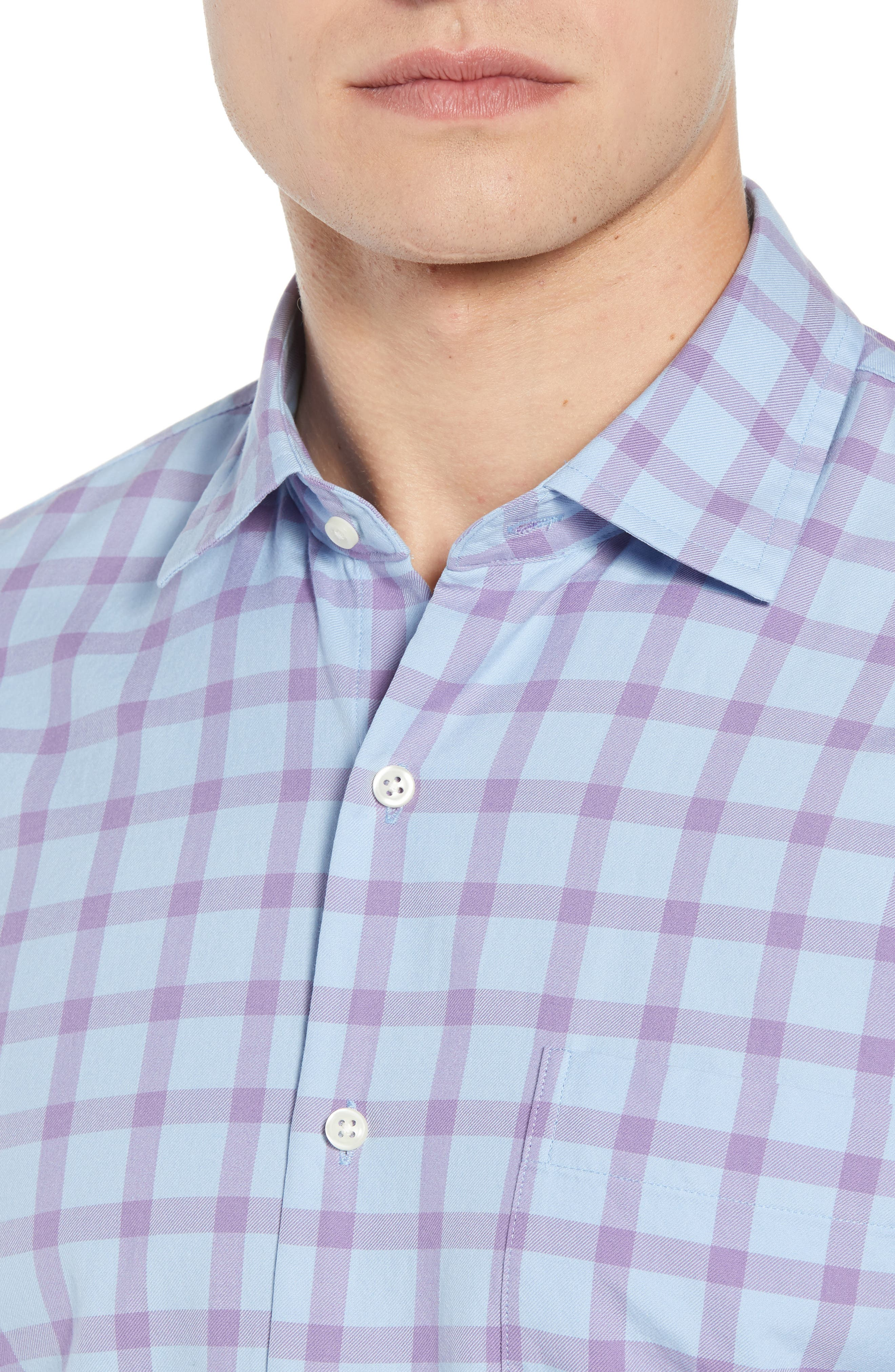 Castin Regular Fit Tattersall Check Sport Shirt,                             Alternate thumbnail 2, color,                             BLUE