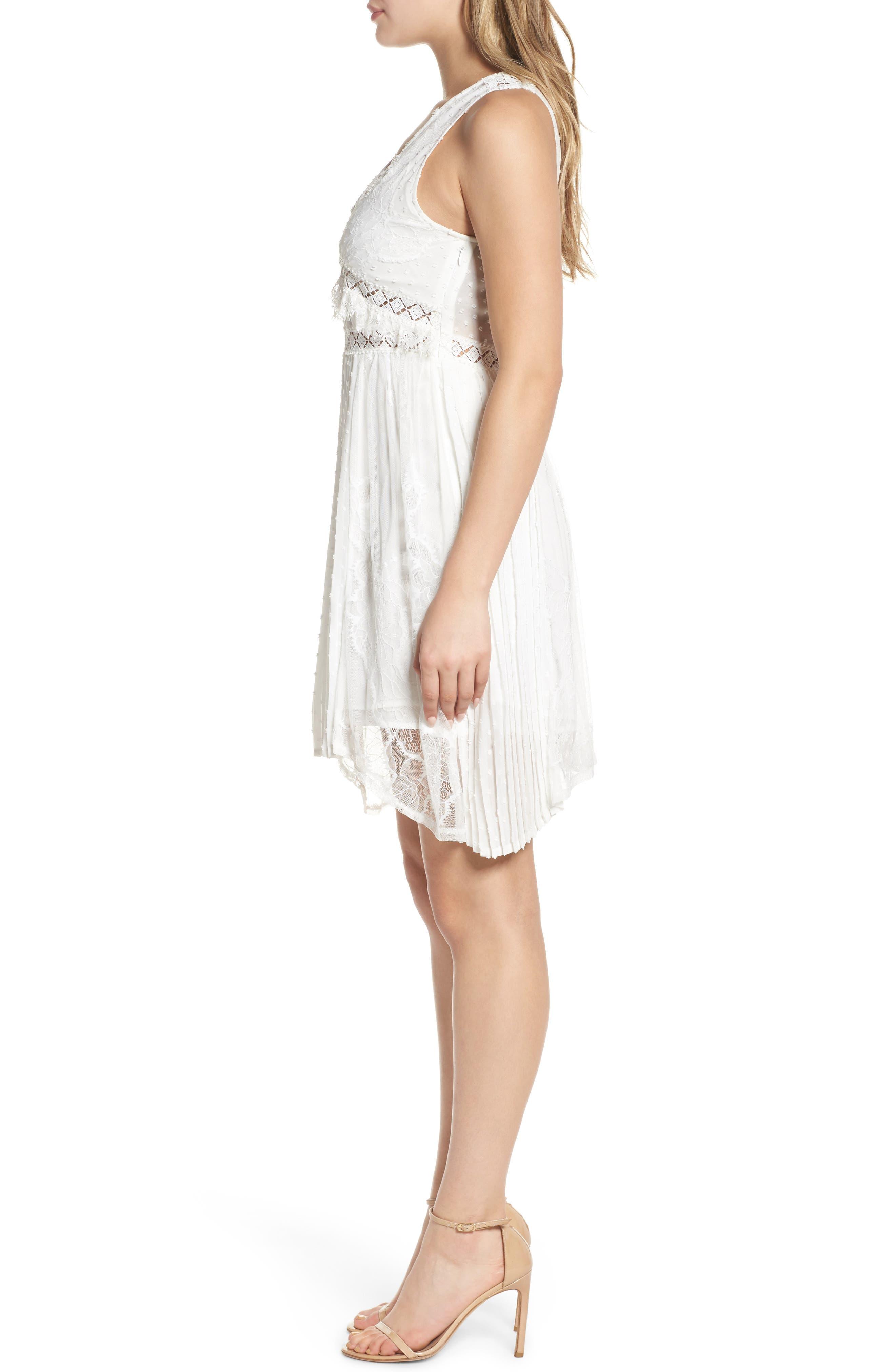 Babette Lace Inset Party Dress,                             Alternate thumbnail 3, color,                             100