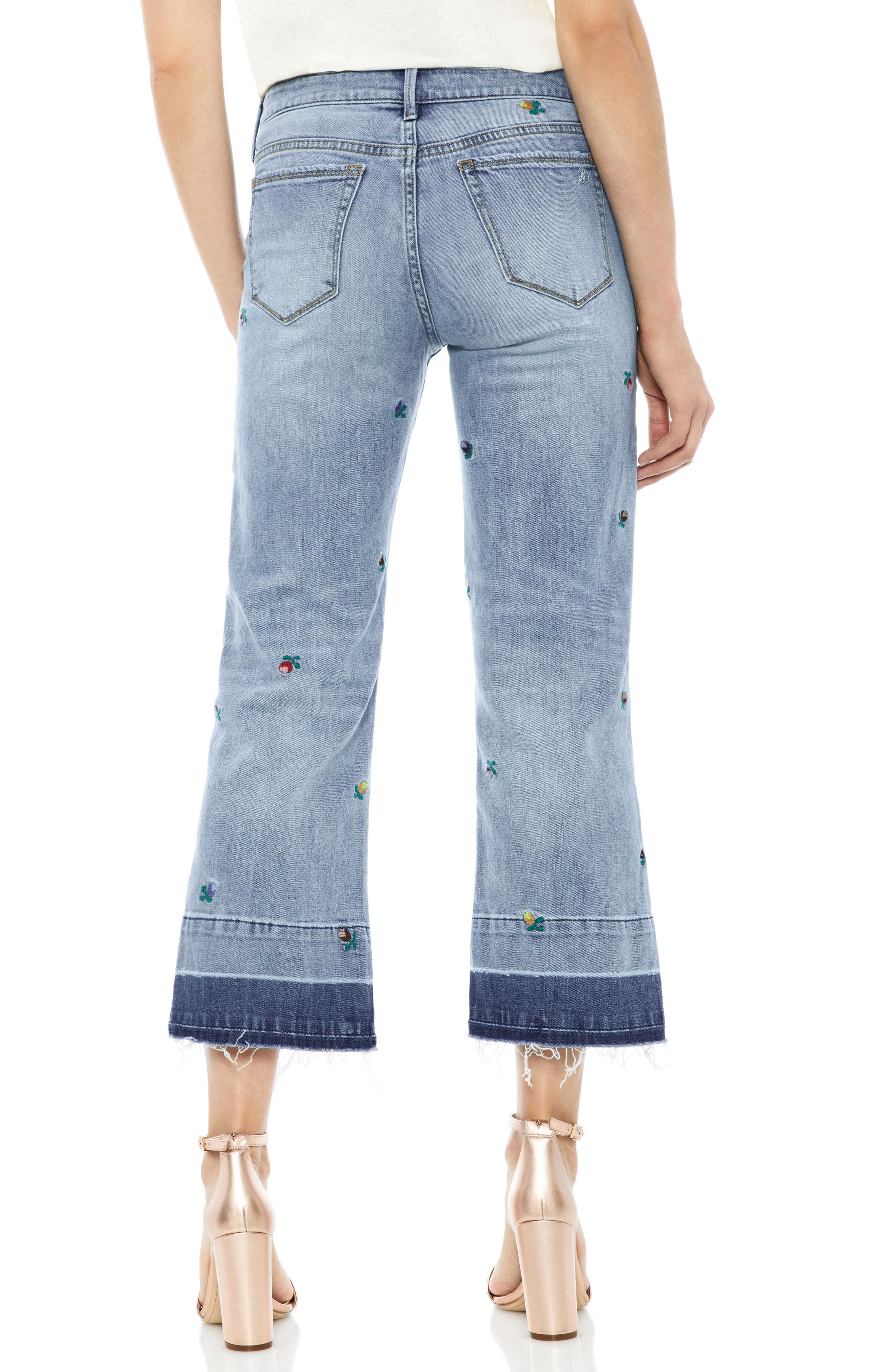 The Chelsea Embroidered Release Hem Wide Leg Jeans,                             Alternate thumbnail 2, color,