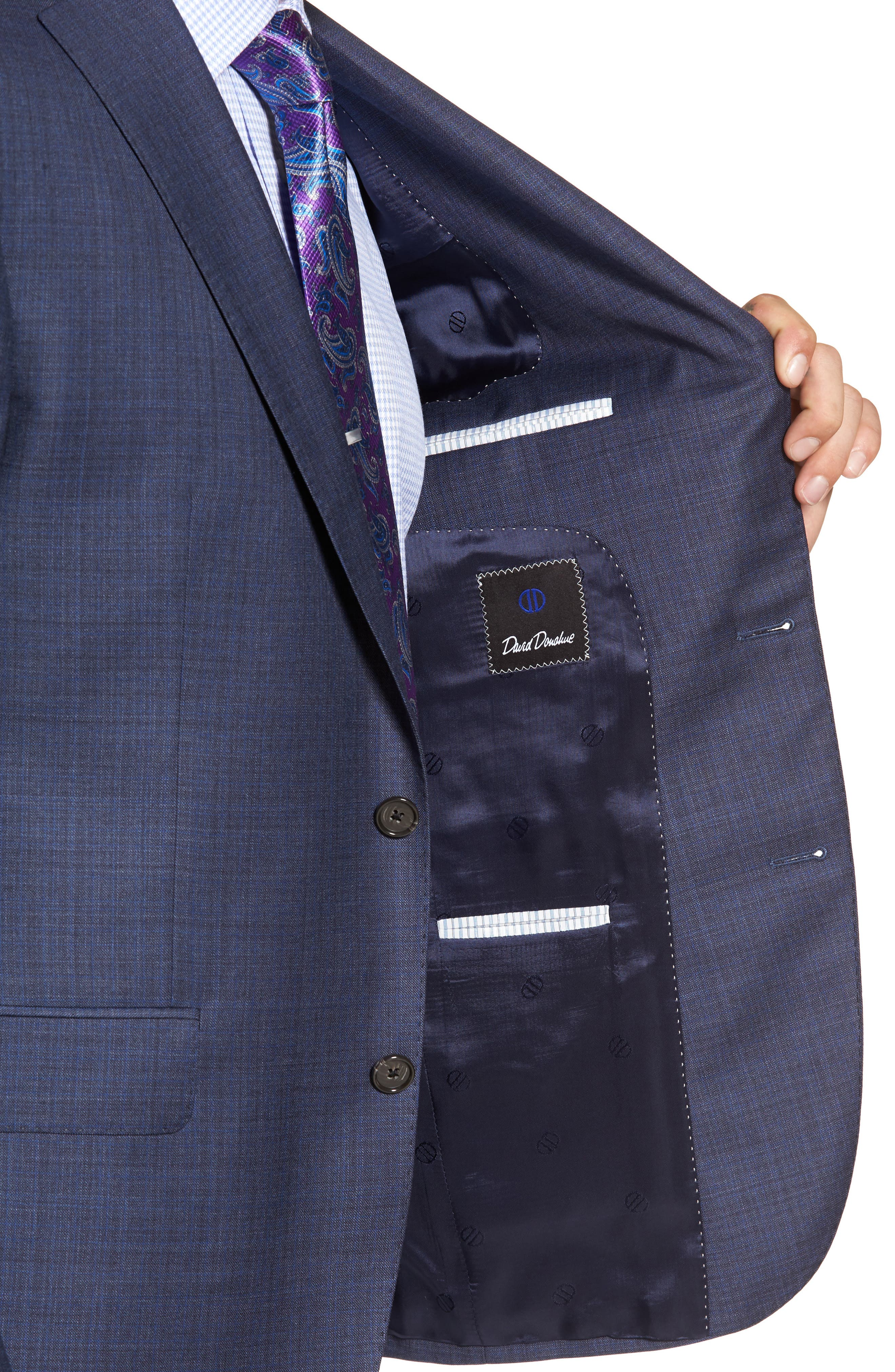 Ryan Classic Fit Check Wool Suit,                             Alternate thumbnail 4, color,                             420