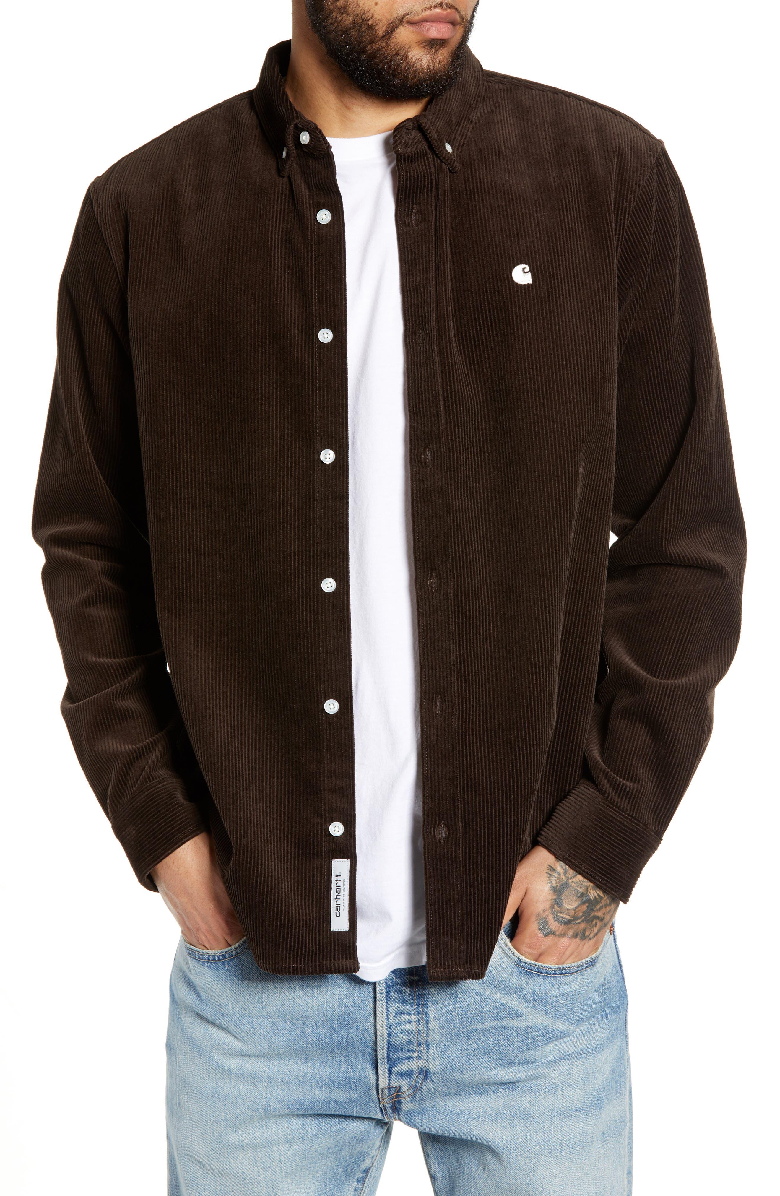 Madison Corduroy Shirt, Main, color, TOBACCO / WAX