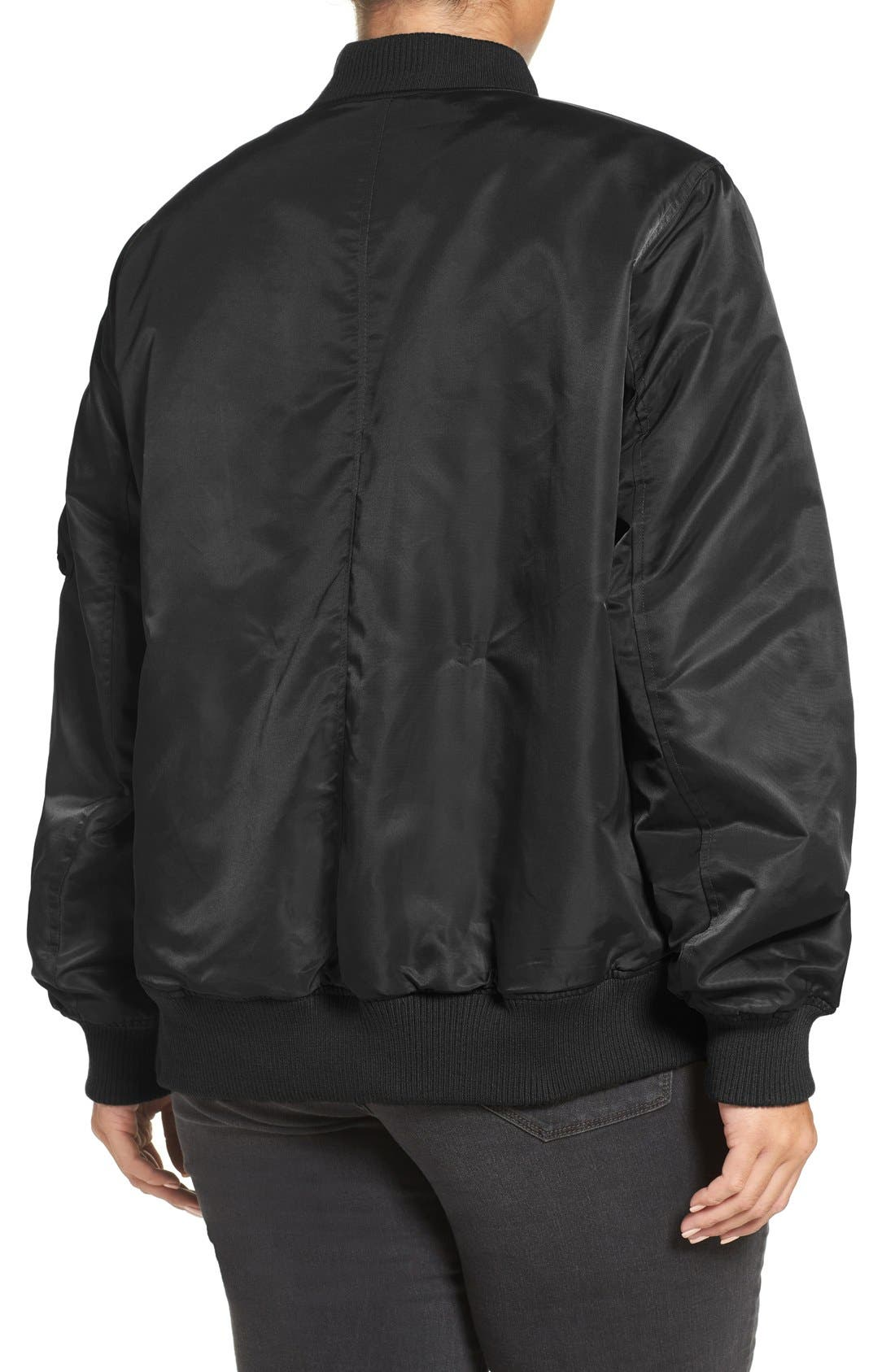 Flight Side Zip Bomber Jacket,                             Alternate thumbnail 4, color,                             001