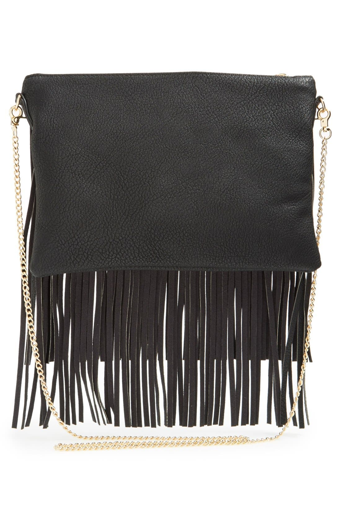 'Rose' Fringe Faux Leather Convertible Crossbody Bag,                             Alternate thumbnail 2, color,                             001