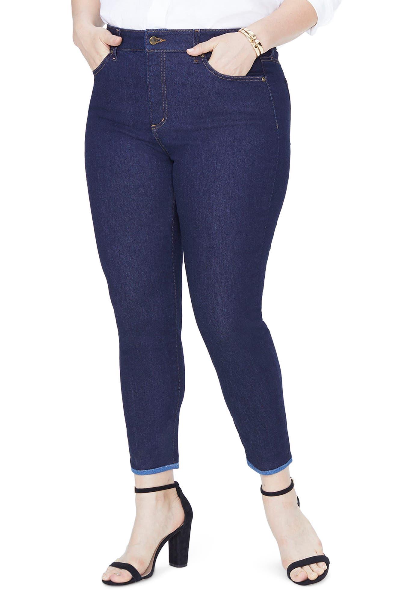 Alina Contrast Hem Ankle Skinny Jeans,                         Main,                         color, RINSE