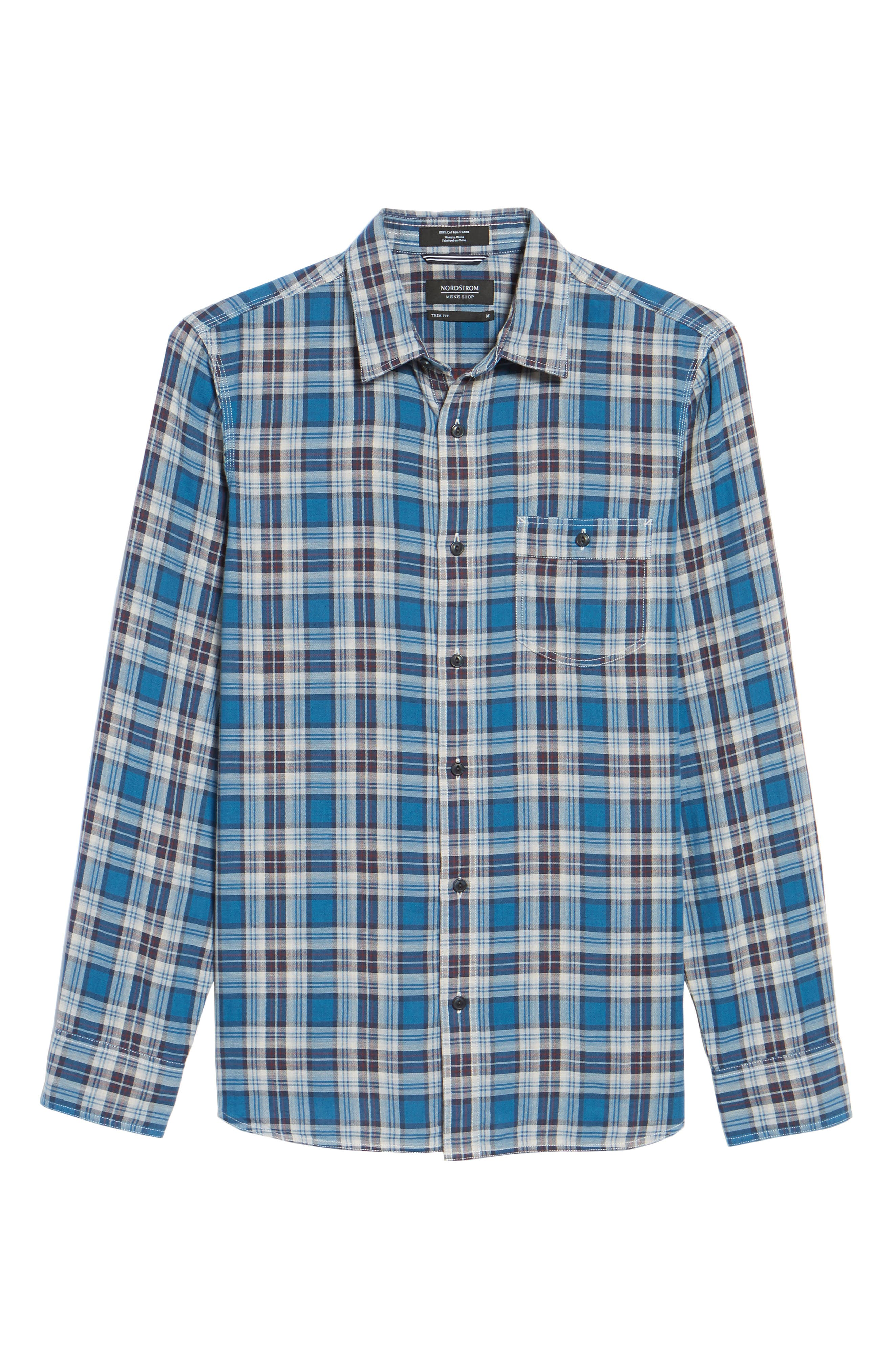 Workwear Duofold Plaid Sport Shirt,                             Alternate thumbnail 6, color,                             440
