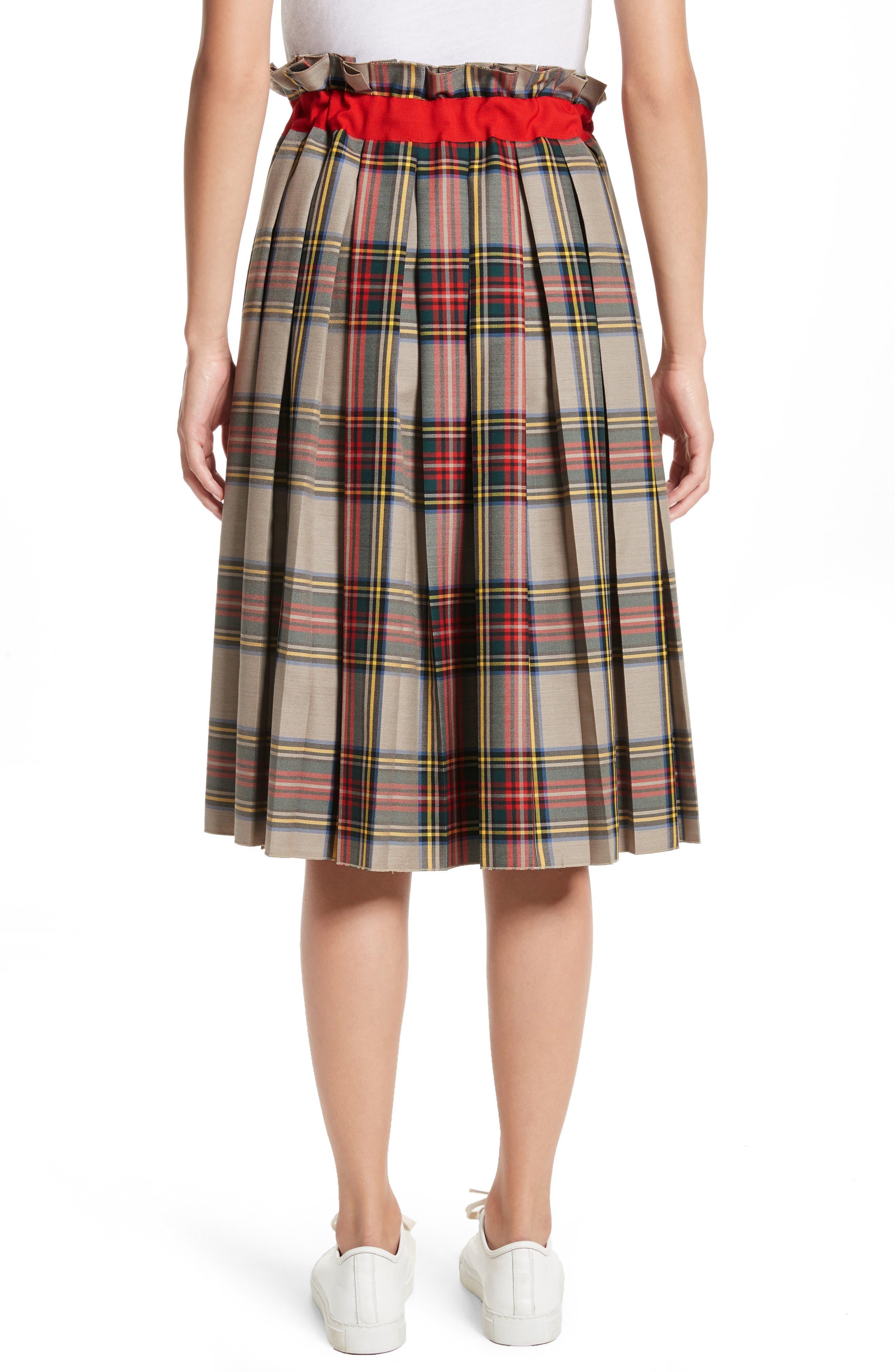 Pleated Technical Gabardine Skirt,                             Alternate thumbnail 2, color,                             250