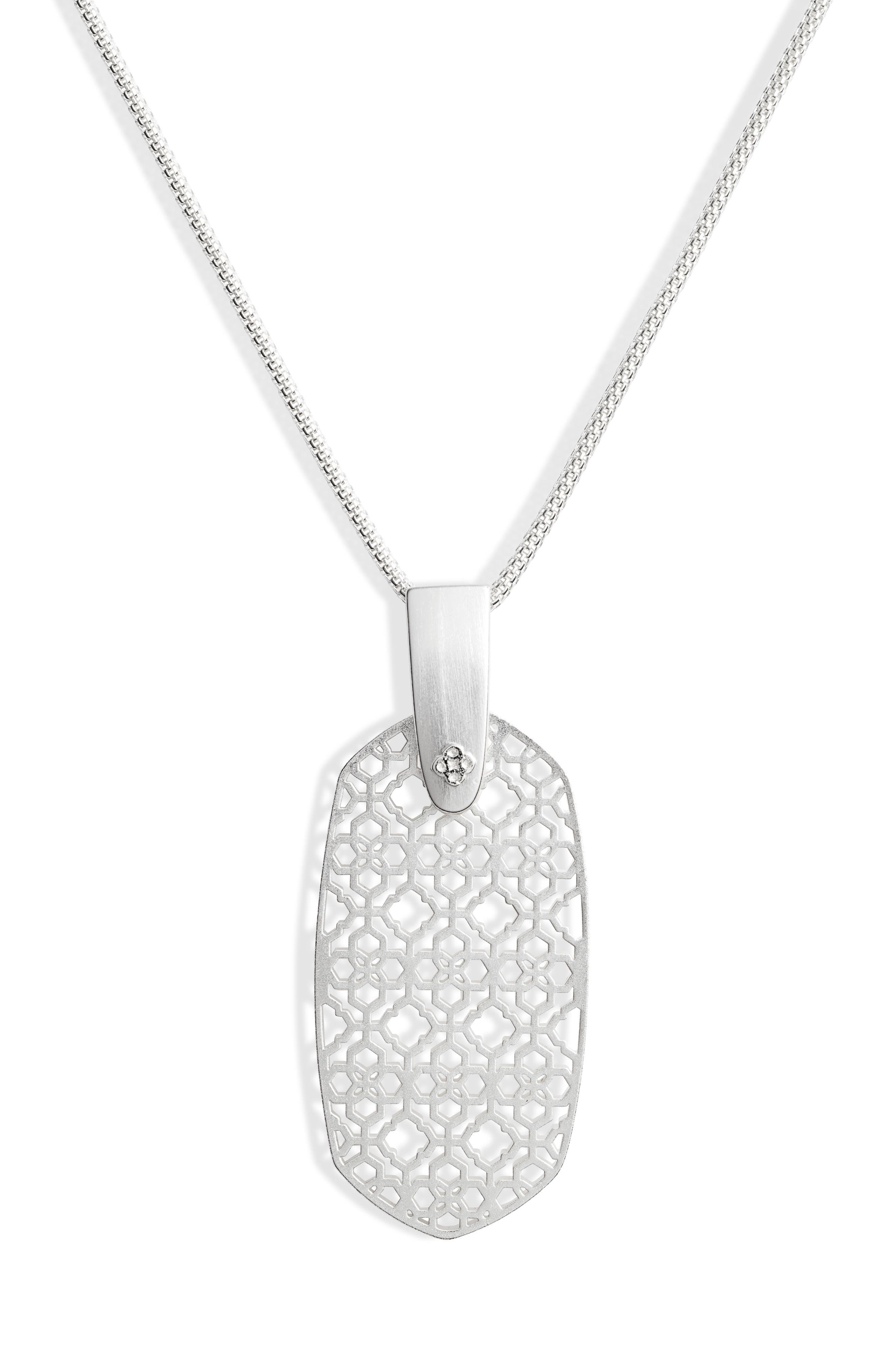 KENDRA SCOTT,                             Inez Filigree Pendant Necklace,                             Alternate thumbnail 3, color,                             RHODIUM FILIGREE METAL