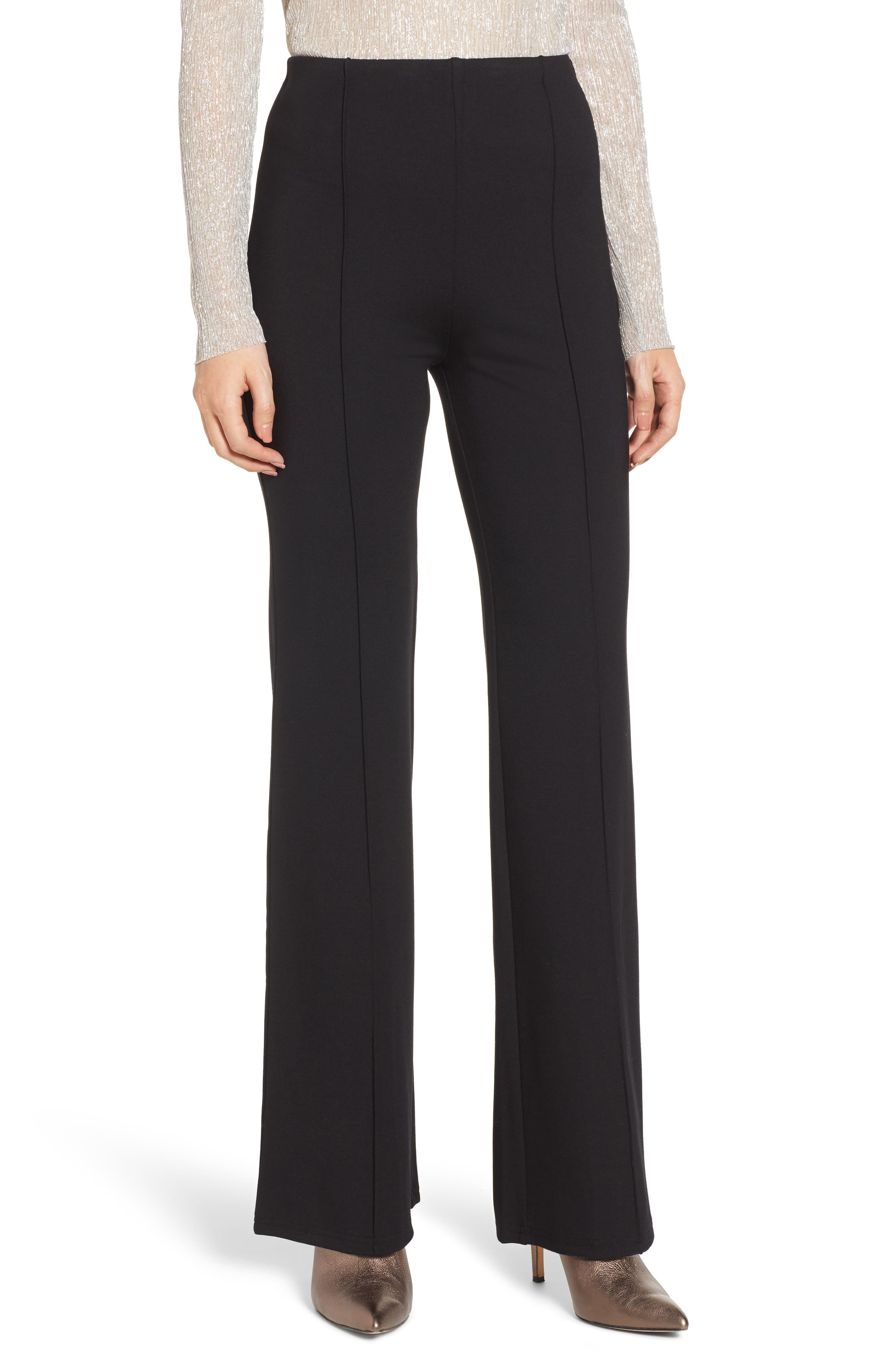 Leith High Waist Flare Leg Pants, Black