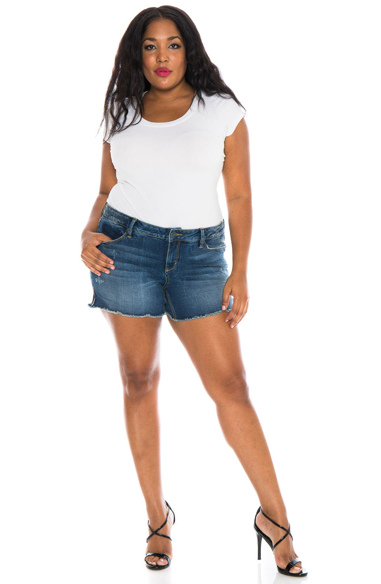 Cutoff Denim Shorts,                             Alternate thumbnail 4, color,                             CARALYN