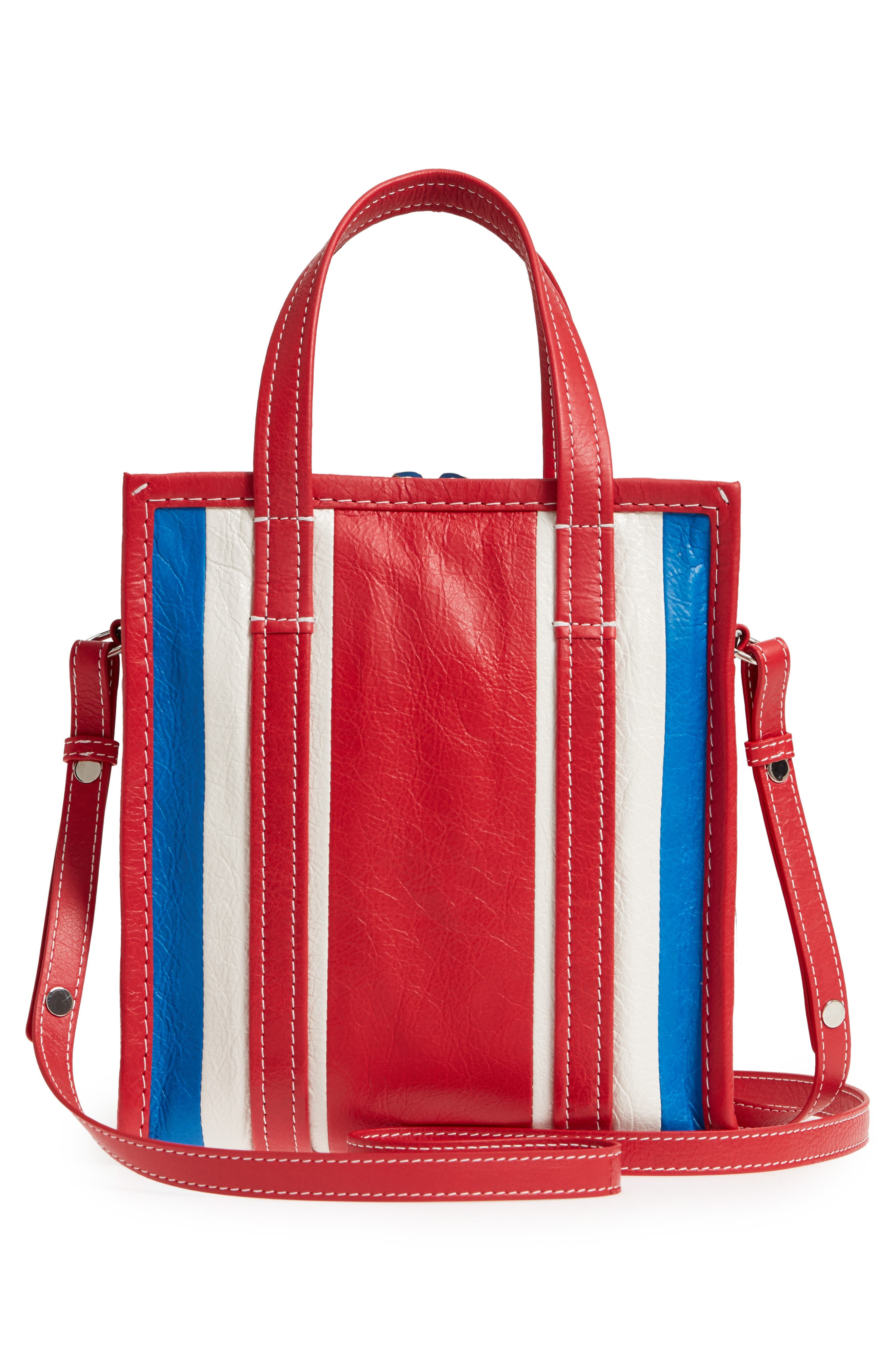 Extra Small Bazar Leather AJ Shopper,                             Alternate thumbnail 3, color,                             BLUE/ BLANC/ ROUGE