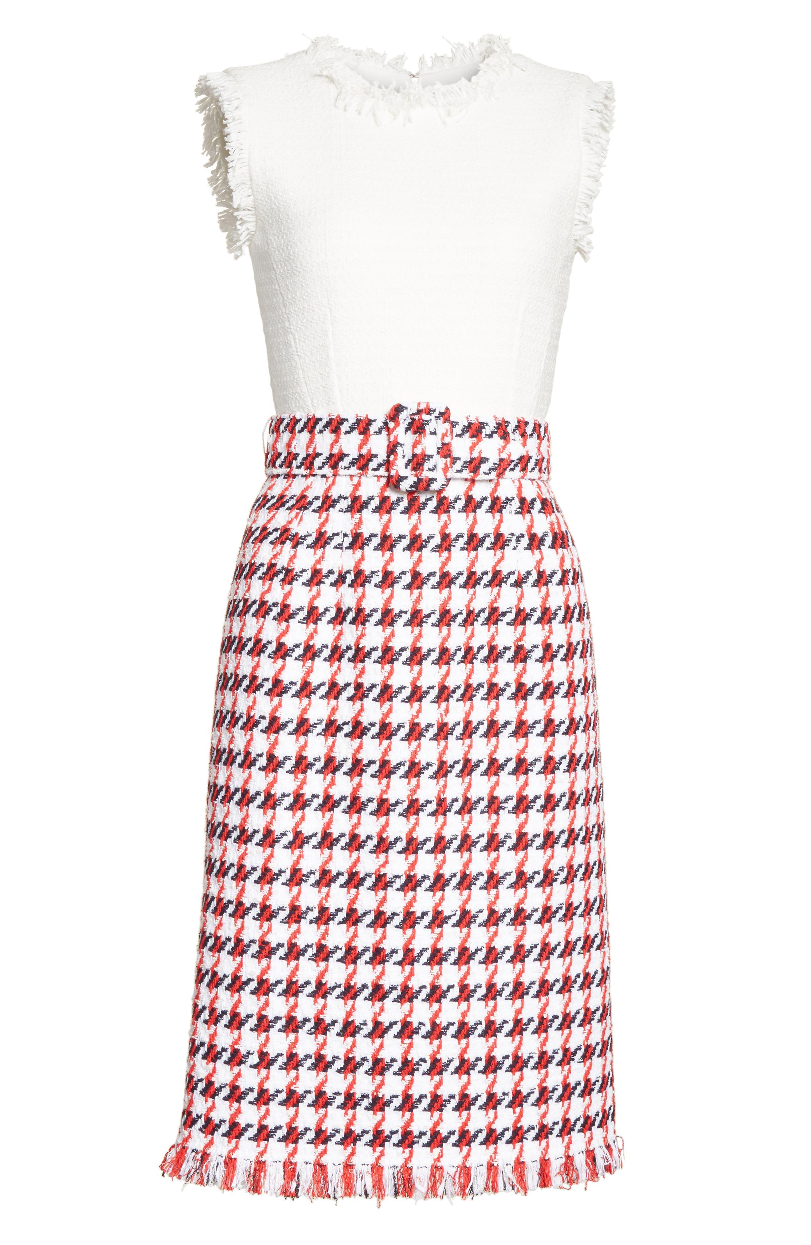 Bicolor Houndstooth Tweed Dress,                             Alternate thumbnail 6, color,                             900