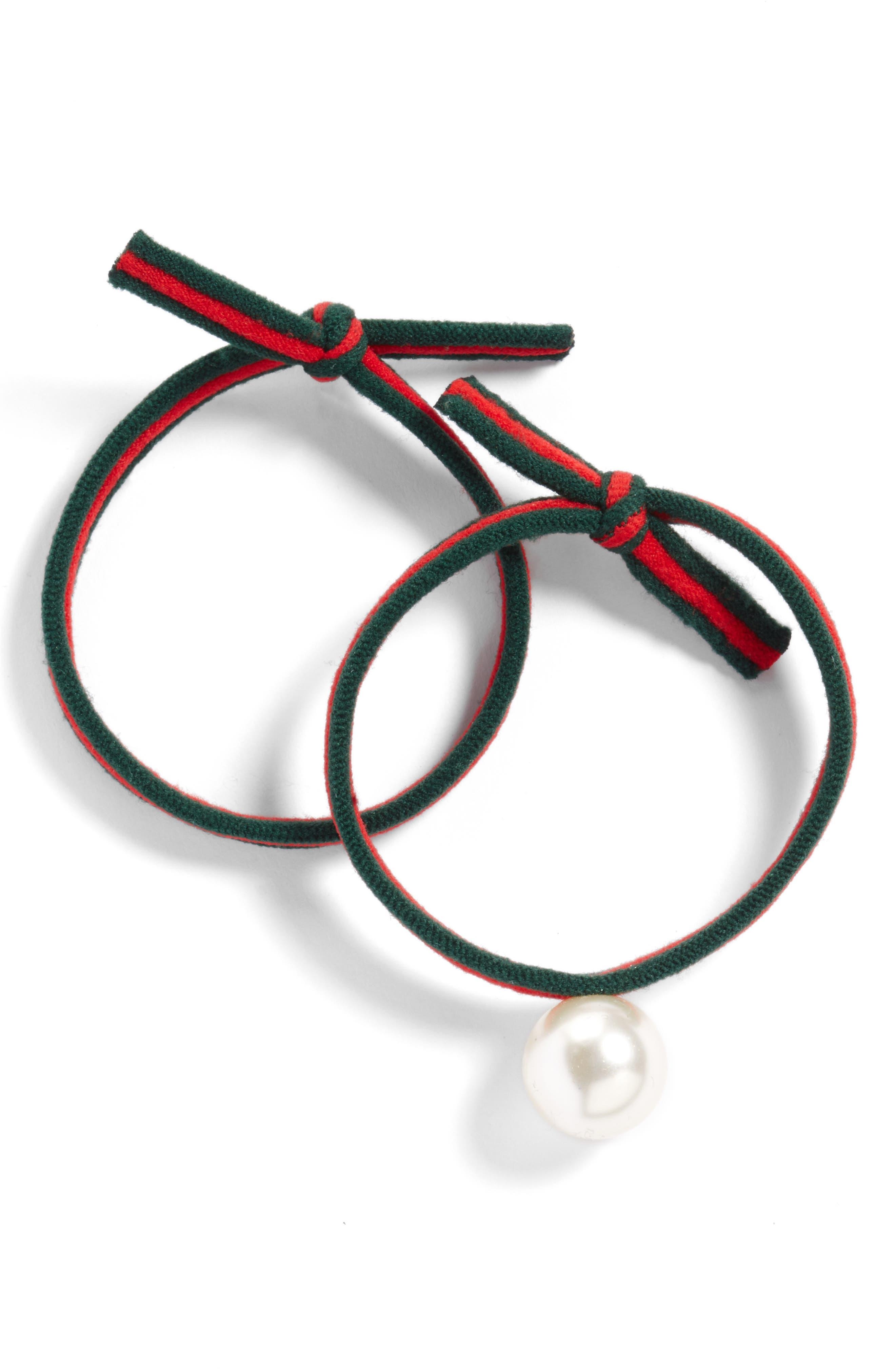 2-Pack Ribbon & Imitation Pearl Ponytail Holders,                         Main,                         color,