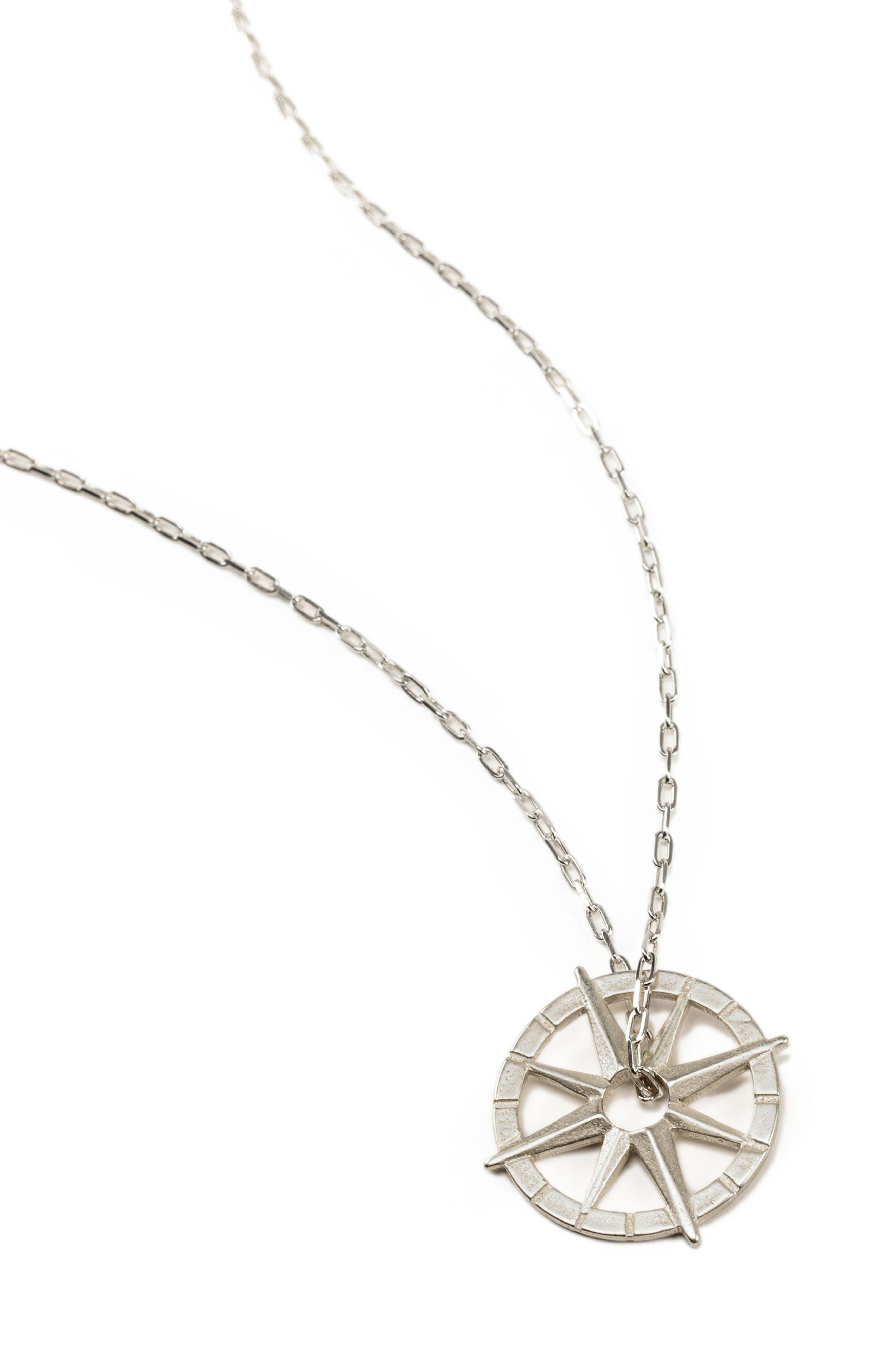 Petalbox North Star Compass Pendant Necklace,                             Alternate thumbnail 3, color,                             040