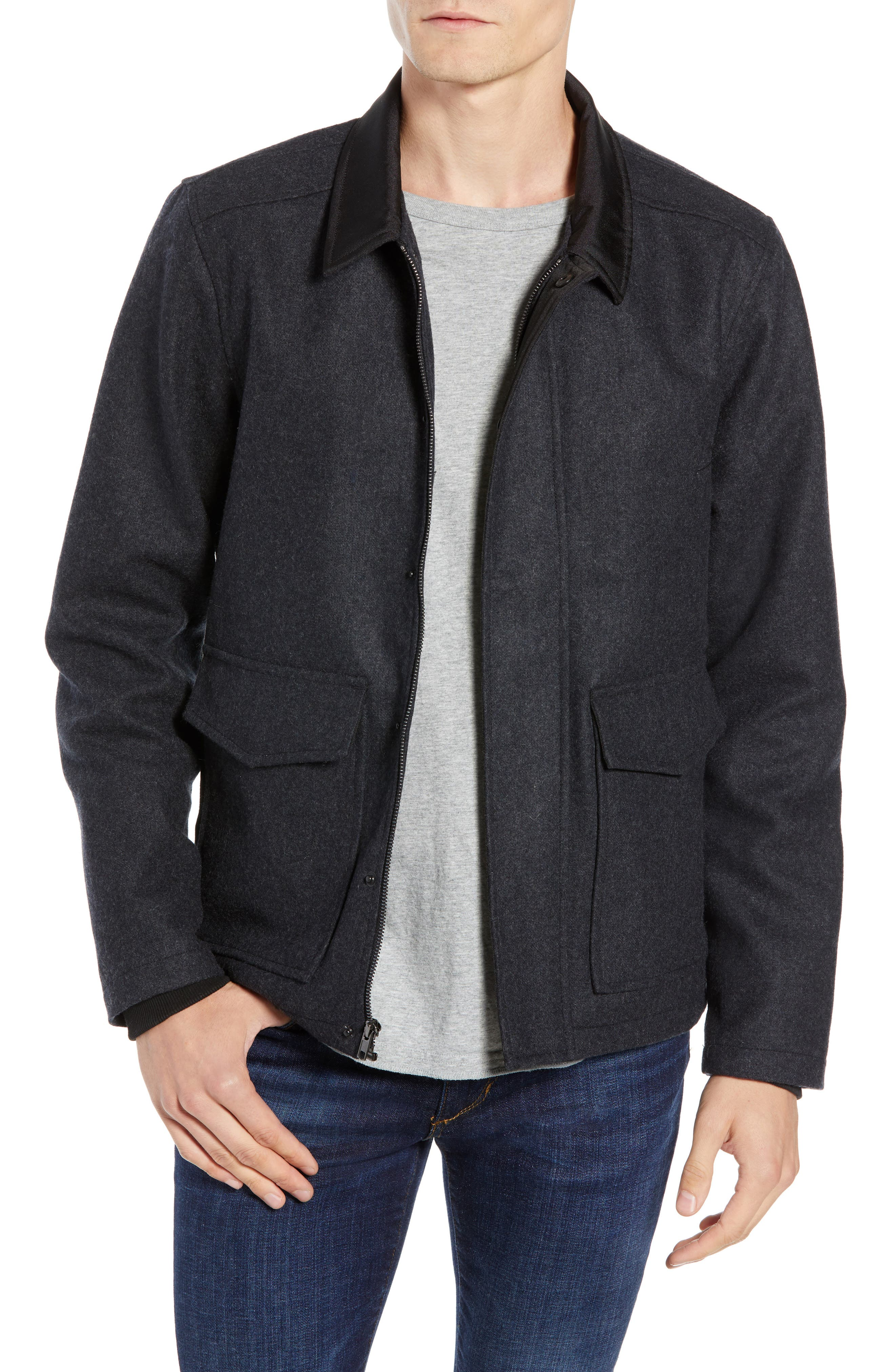Zip Front Jacket,                             Main thumbnail 1, color,                             GREY