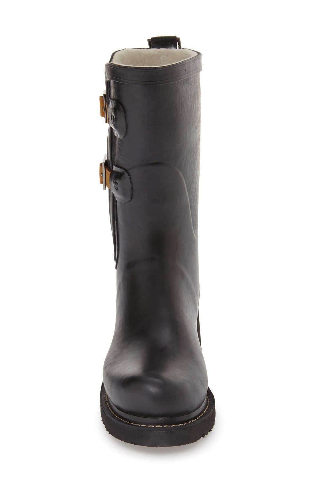 Waterproof Buckle Detail Snow/Rain Boot,                             Alternate thumbnail 3, color,                             BLACK
