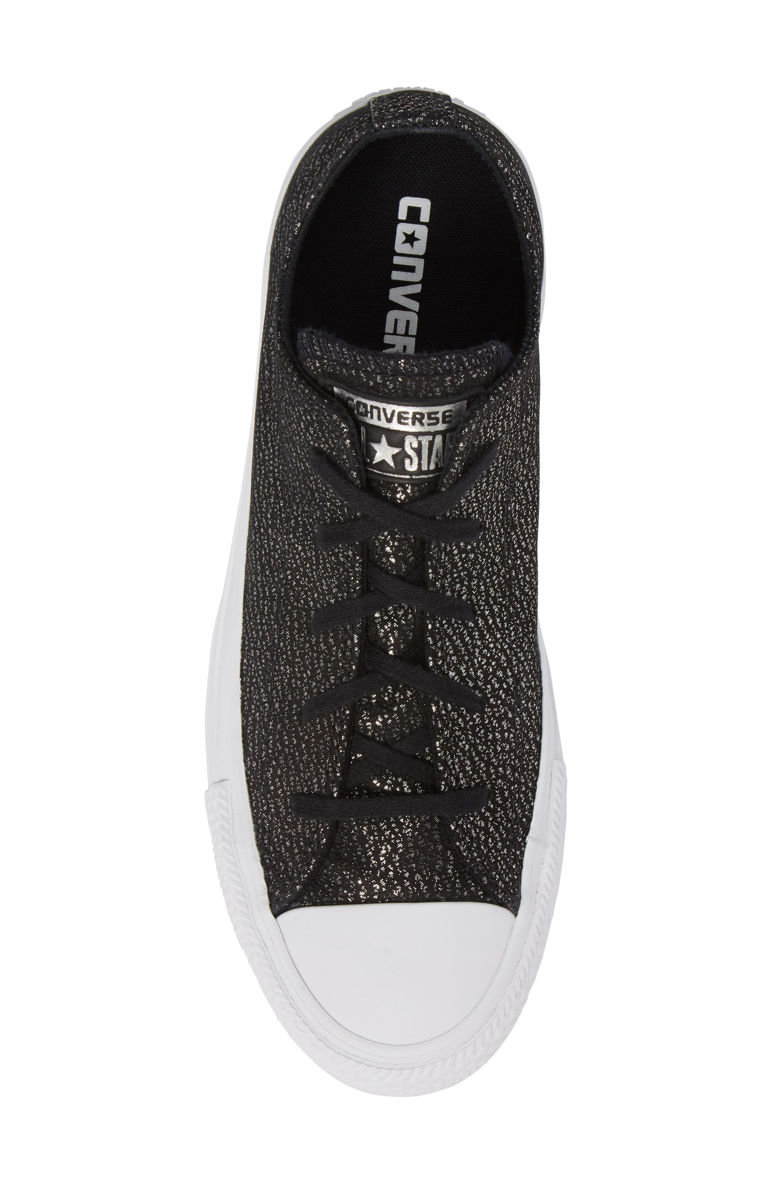 Chuck Taylor<sup>®</sup> All Star<sup>®</sup> Tipped Metallic Low Top Sneaker,                             Alternate thumbnail 5, color,                             001