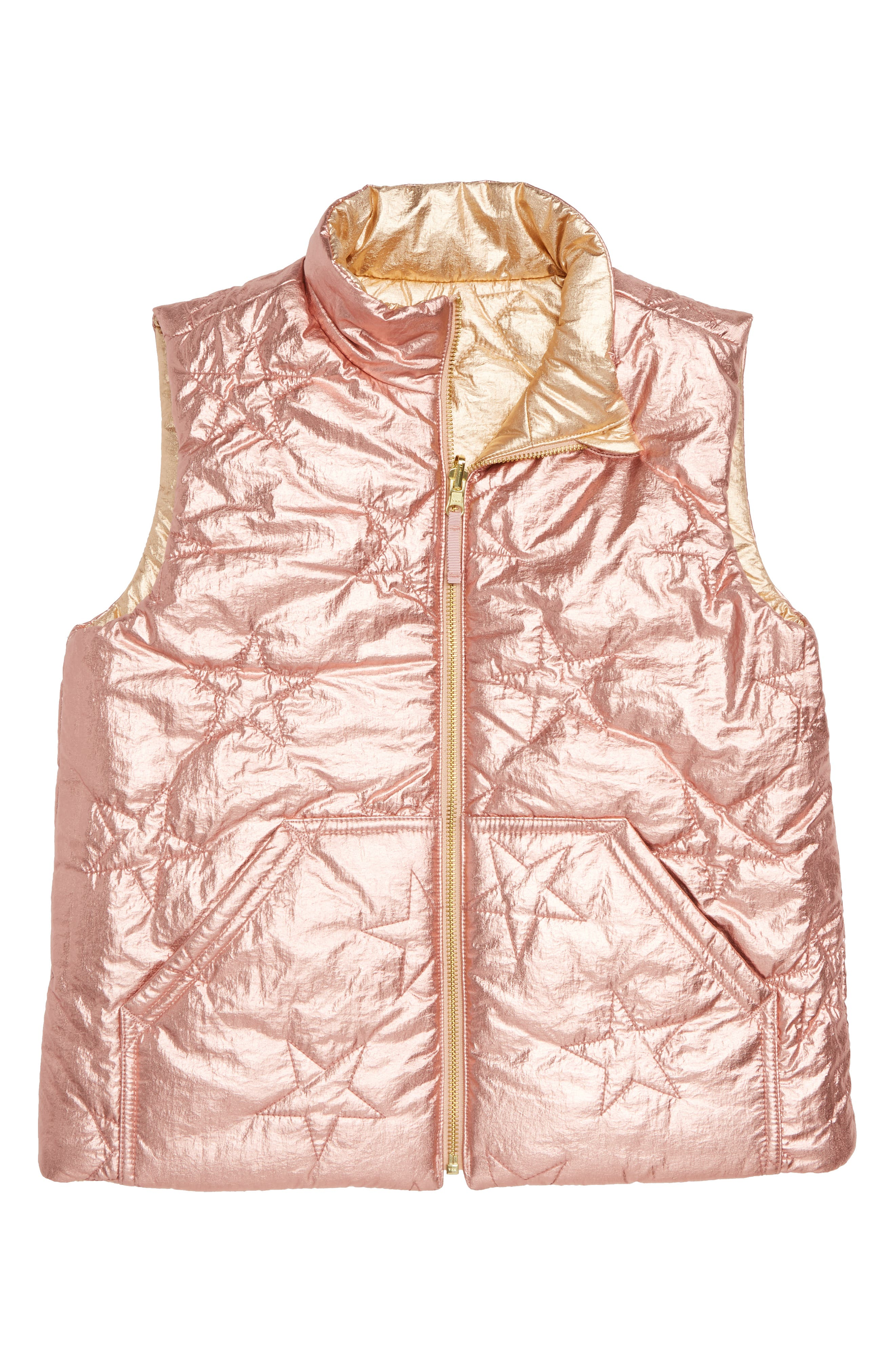 Metallic Reversible Puffer Vest,                             Alternate thumbnail 2, color,                             ROSE GOLD