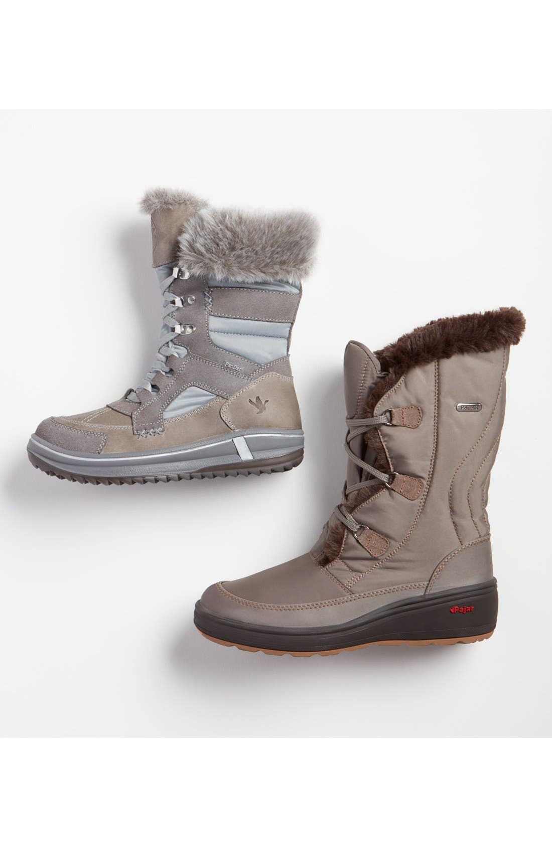 PAJAR,                             'Marcie' Waterproof Snow Boot with Faux Fur Collar,                             Main thumbnail 1, color,                             100