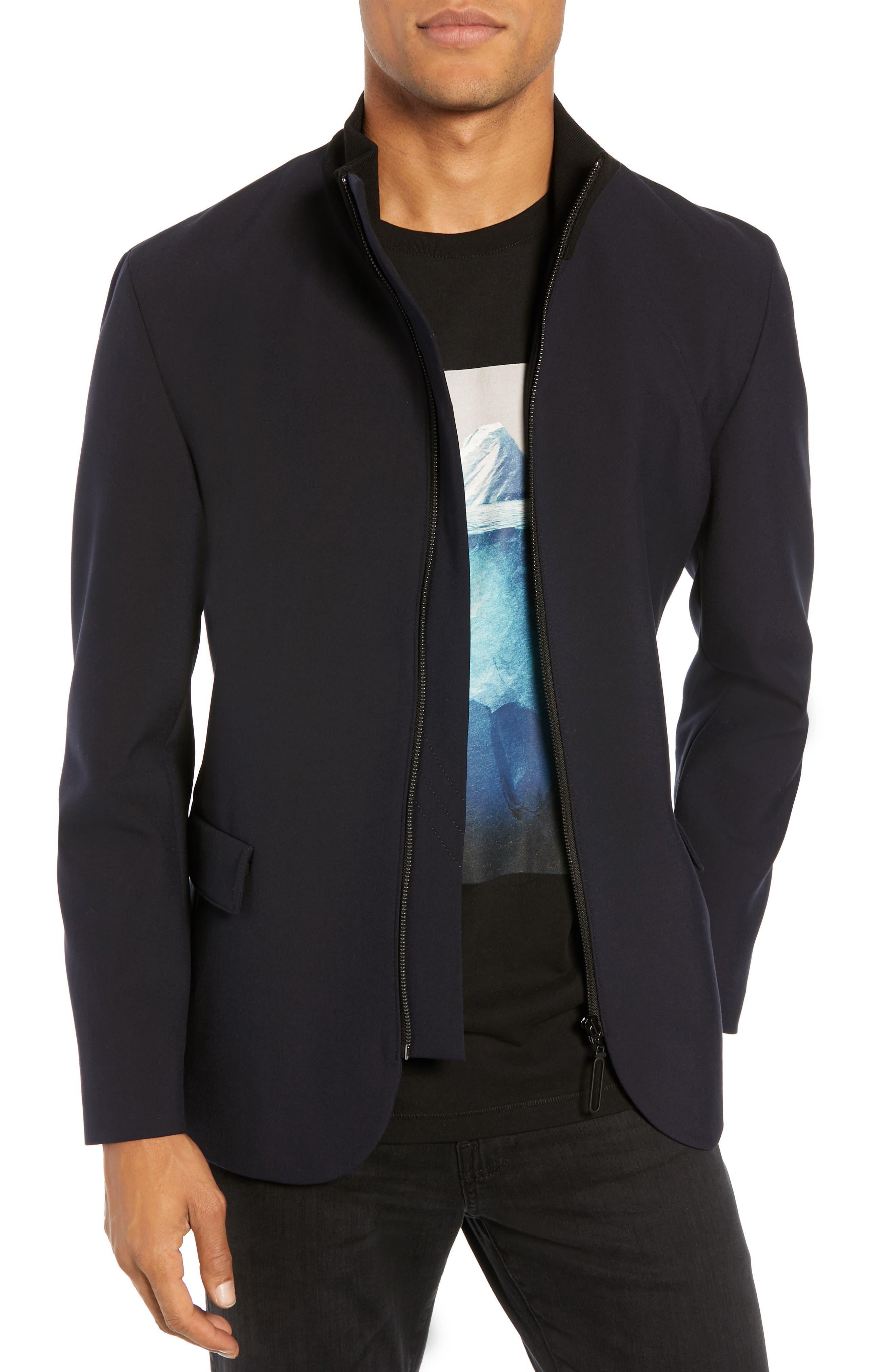 Janno Slim Zip Front Sport Coat,                         Main,                         color, BLUE