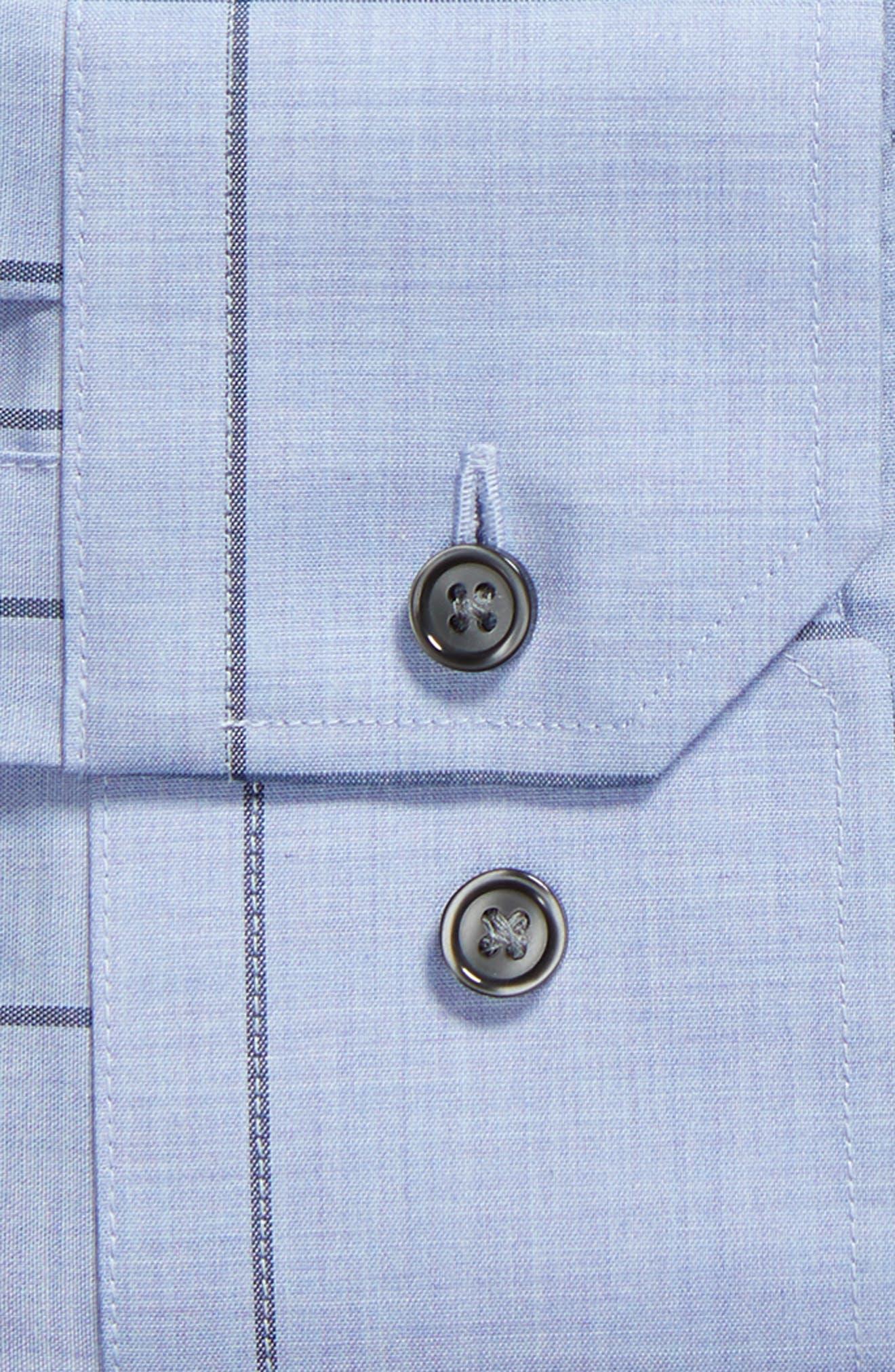 Trim Fit Non-Iron Windowpane Dress Shirt,                             Alternate thumbnail 6, color,                             BLUE HAZE