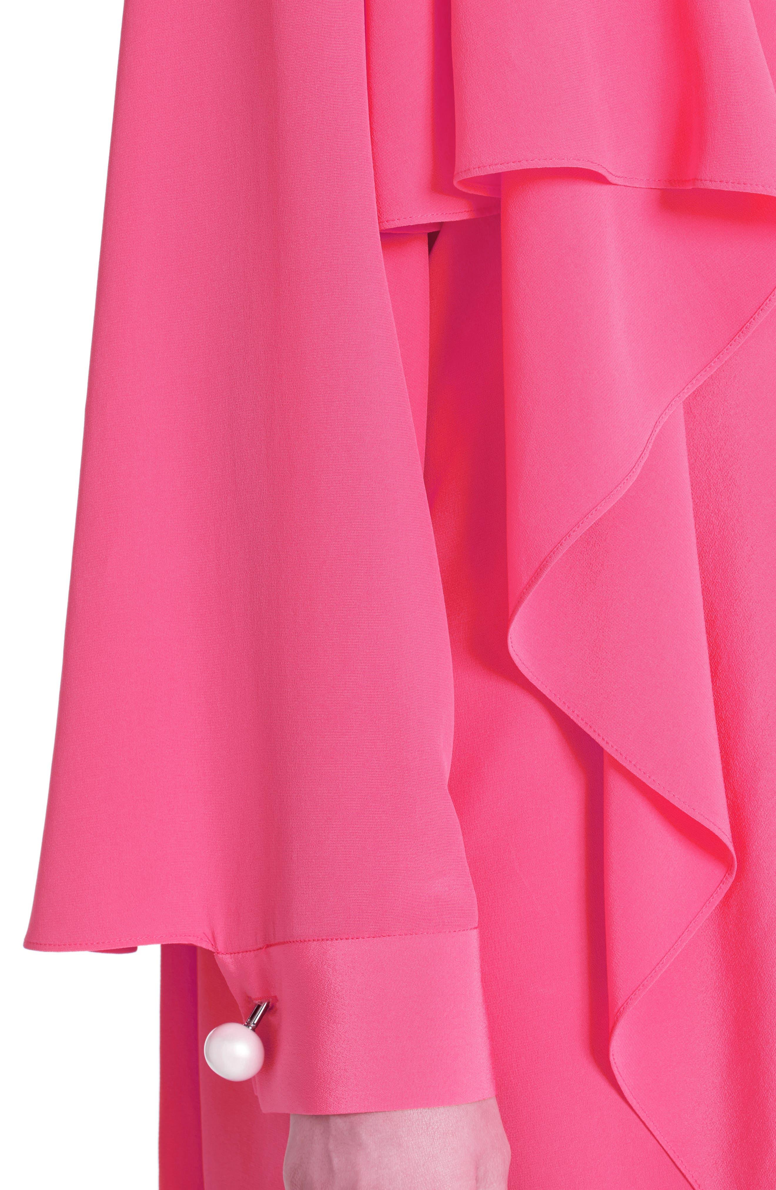 Drape Silk Crêpe de Chine Dress,                             Alternate thumbnail 4, color,                             650