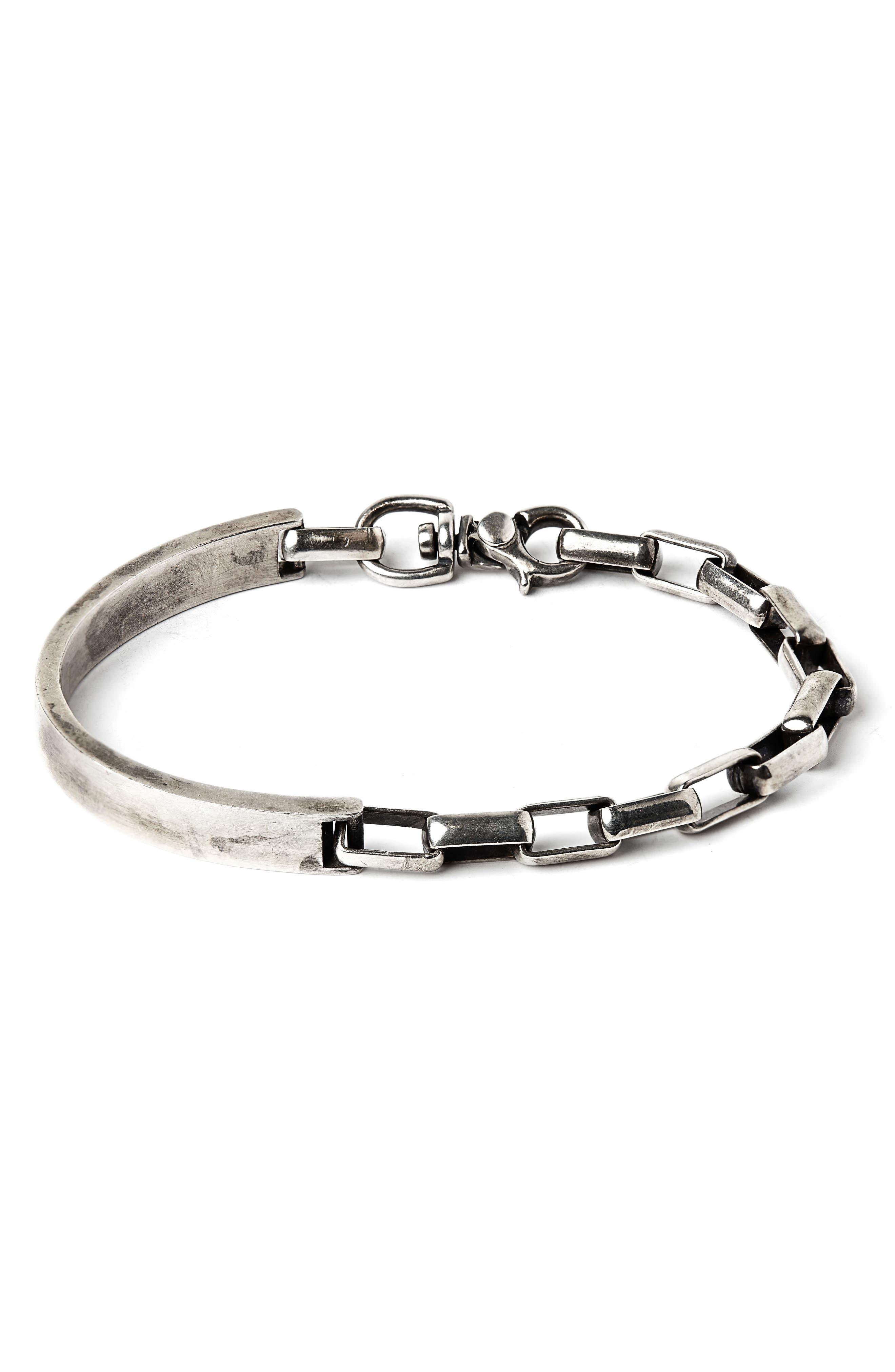 Side Cuff to Box Chain Bracelet,                         Main,                         color, SILVER