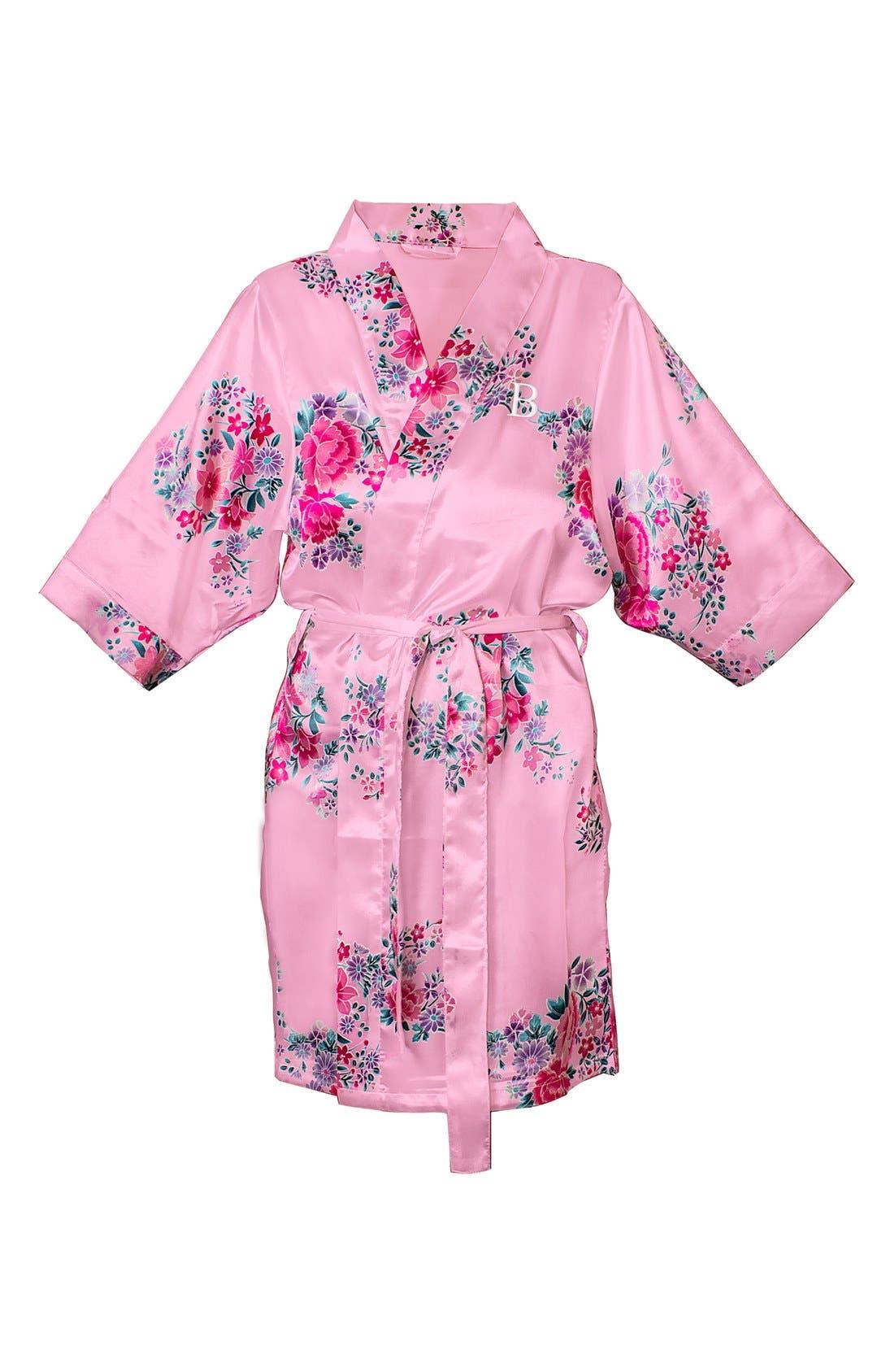 Monogram Floral Satin Robe,                             Main thumbnail 111, color,