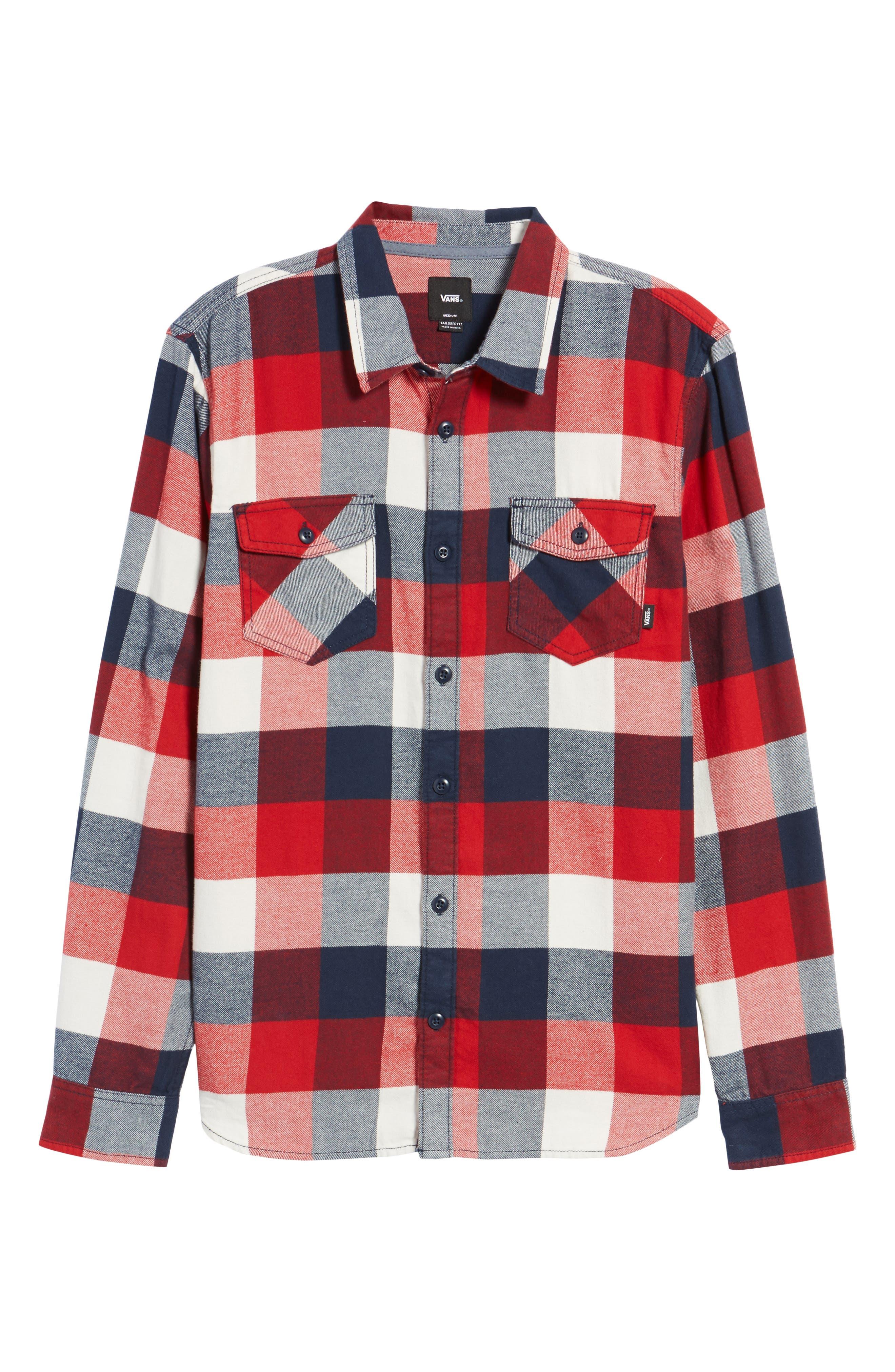 Trim Fit Check Flannel Woven Shirt,                             Alternate thumbnail 27, color,