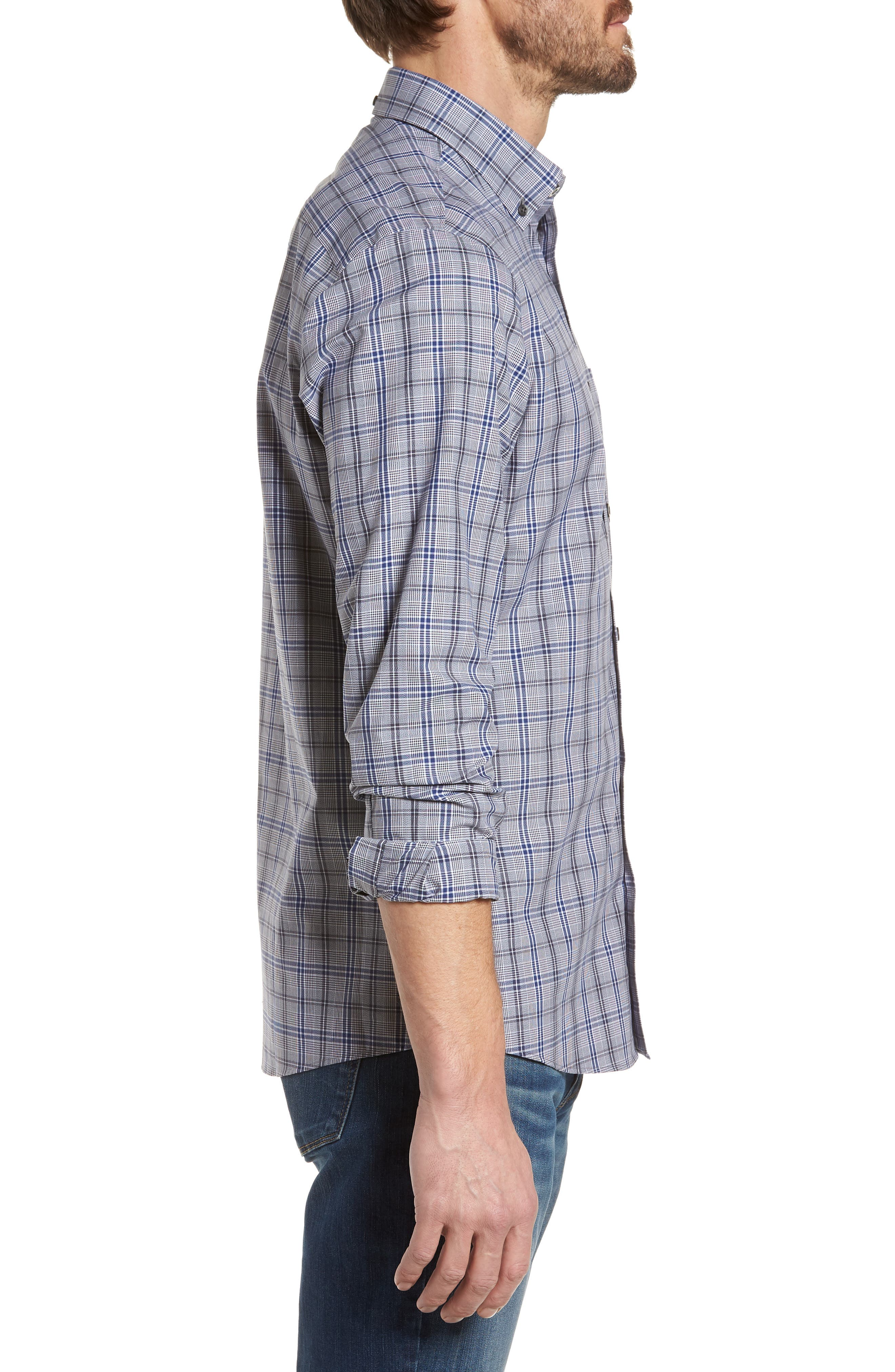Trim Fit Non-Iron Check Sport Shirt,                             Alternate thumbnail 3, color,                             030