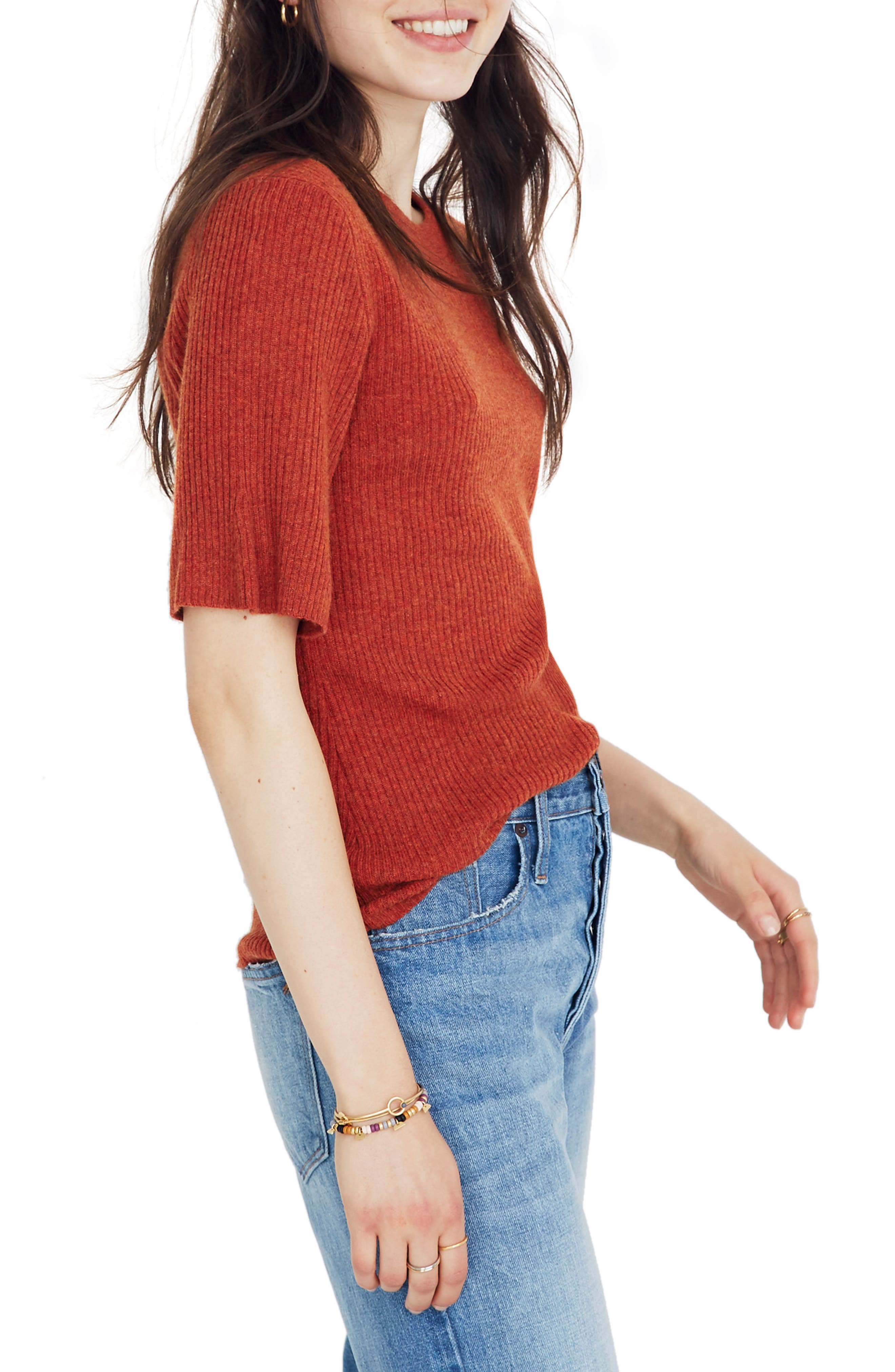 Flounce Sleeve Ribbed Sweater Tee,                             Alternate thumbnail 3, color,                             HEATHER PUMPKIN