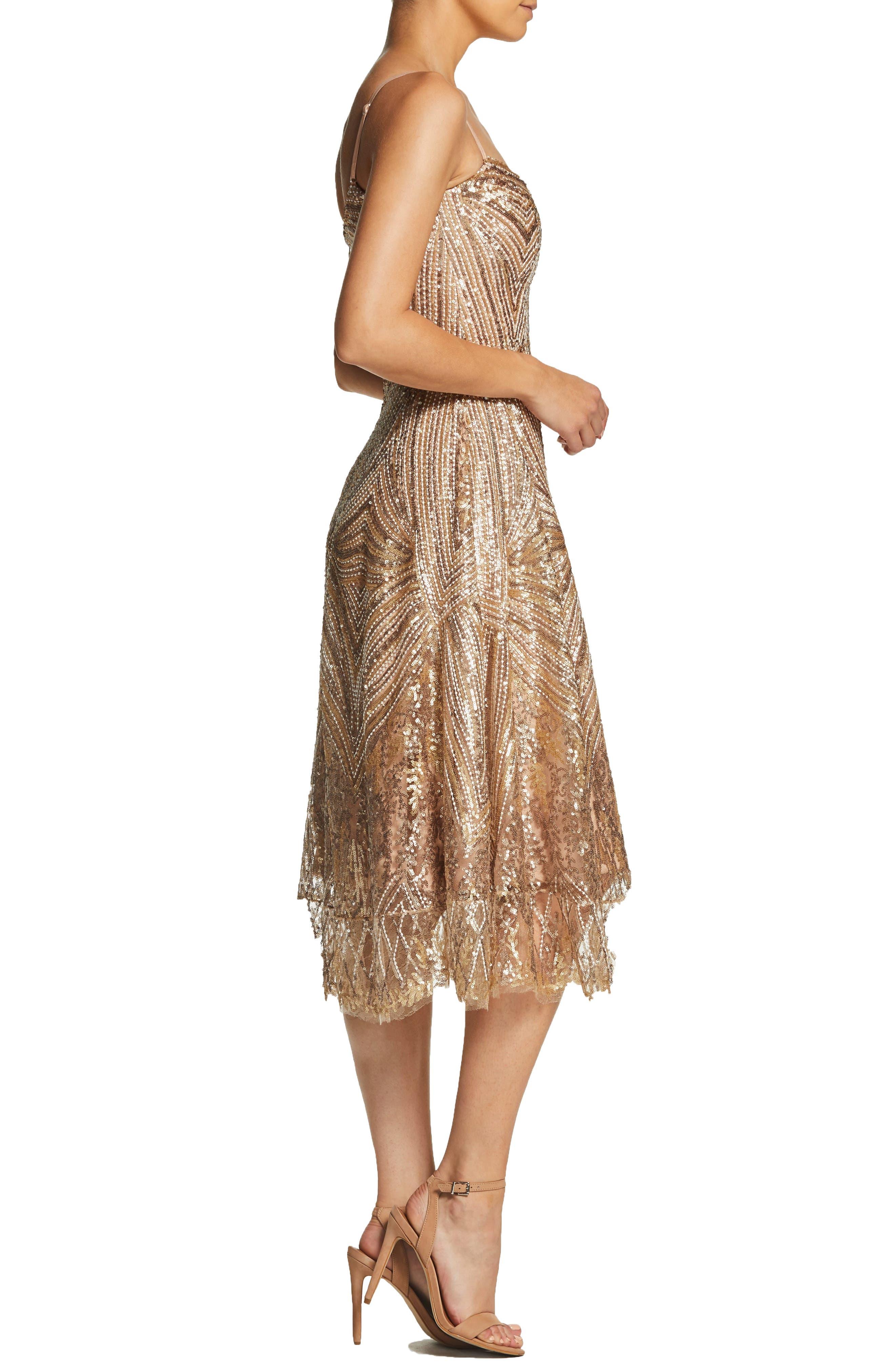DRESS THE POPULATION,                             Leona Art Deco Sequin Fit & Flare Dress,                             Alternate thumbnail 3, color,                             GOLD/ BRASS