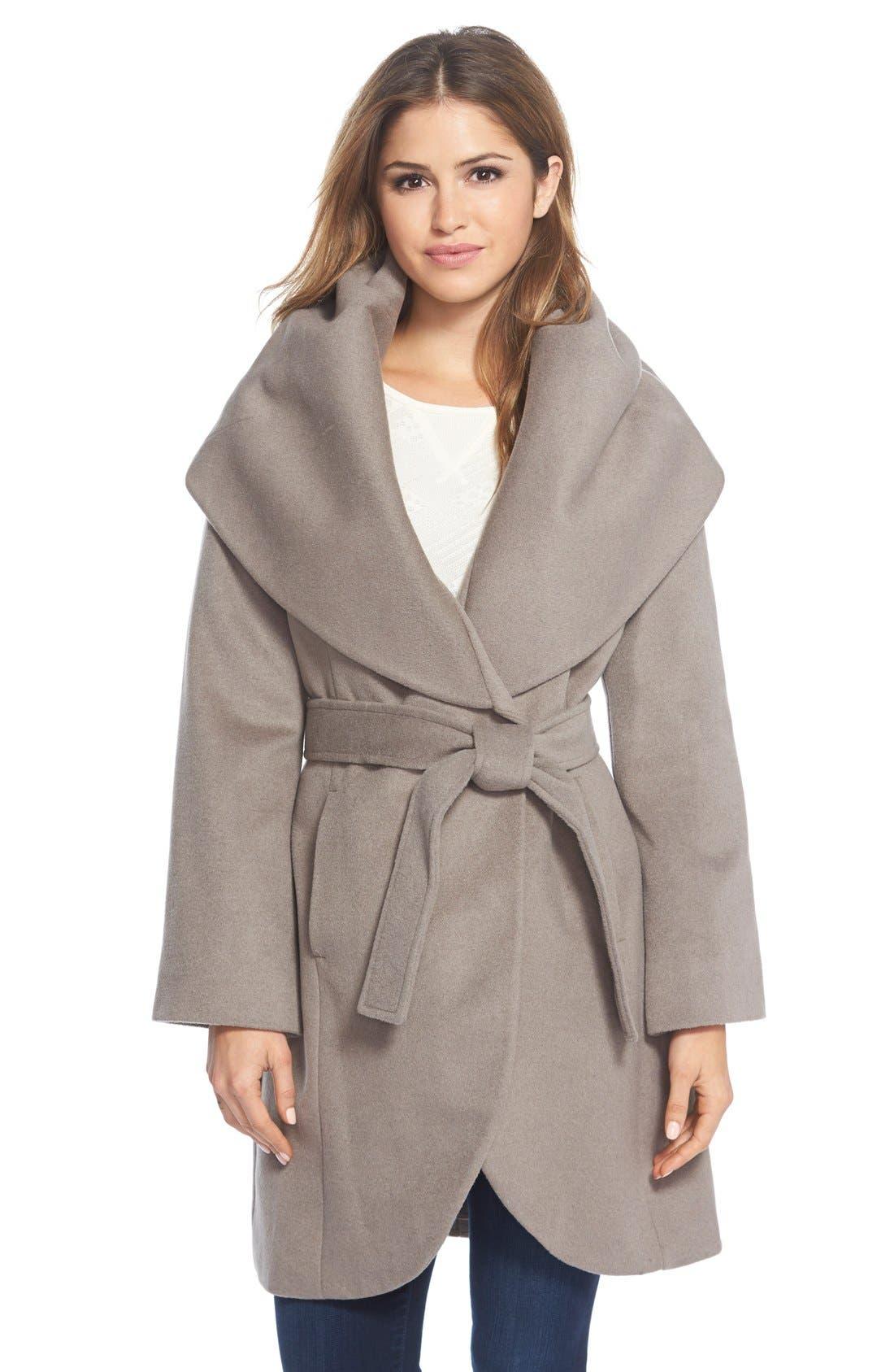 T Tahari Wool Blend Belted Wrap Coat,                             Main thumbnail 5, color,