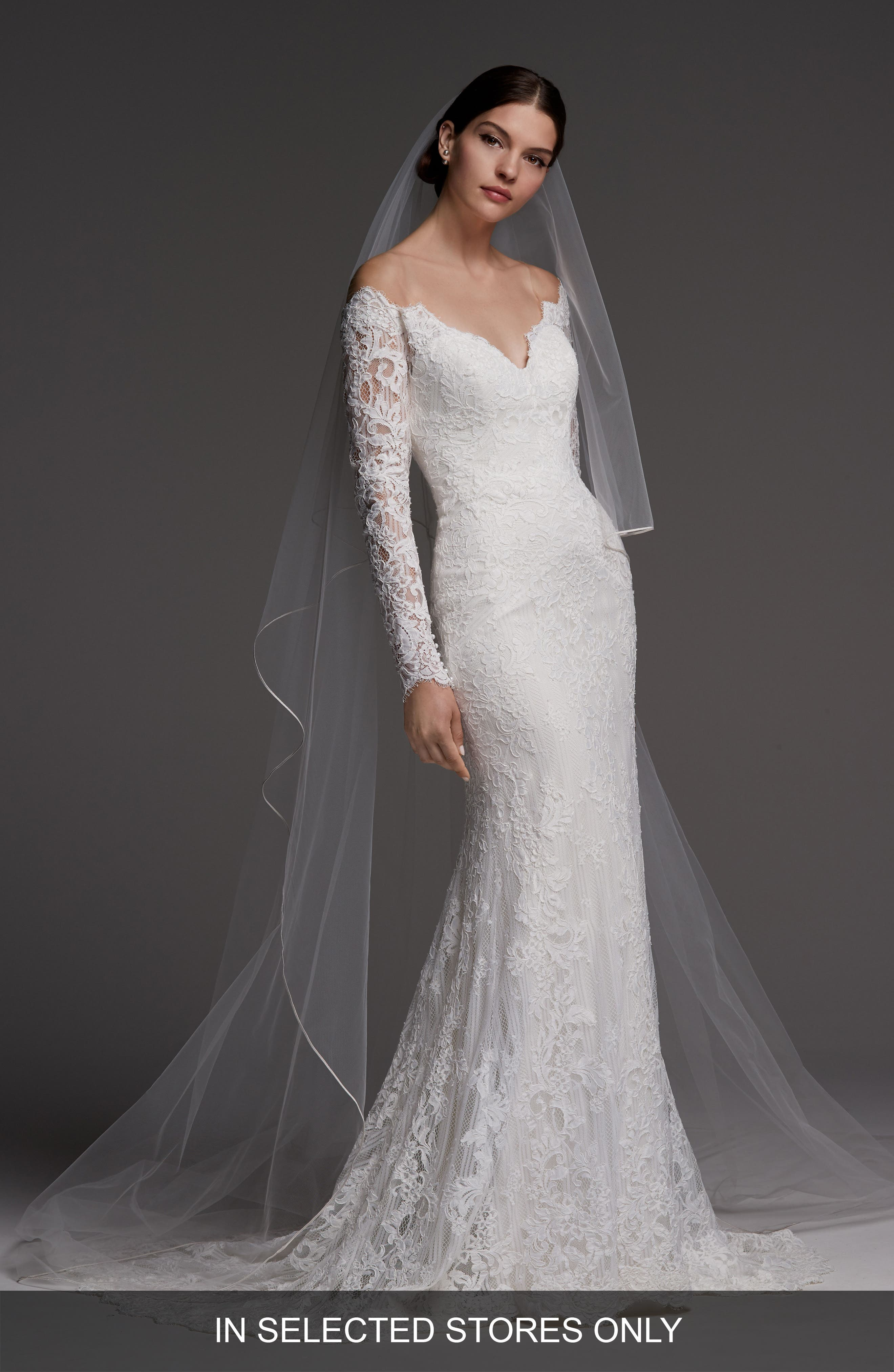 Visconti Long Sleeve Lace Gown,                             Main thumbnail 1, color,                             IVORY/ OYSTER