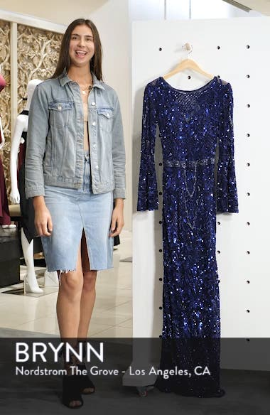 Sequin Bell Sleeve Gown, sales video thumbnail