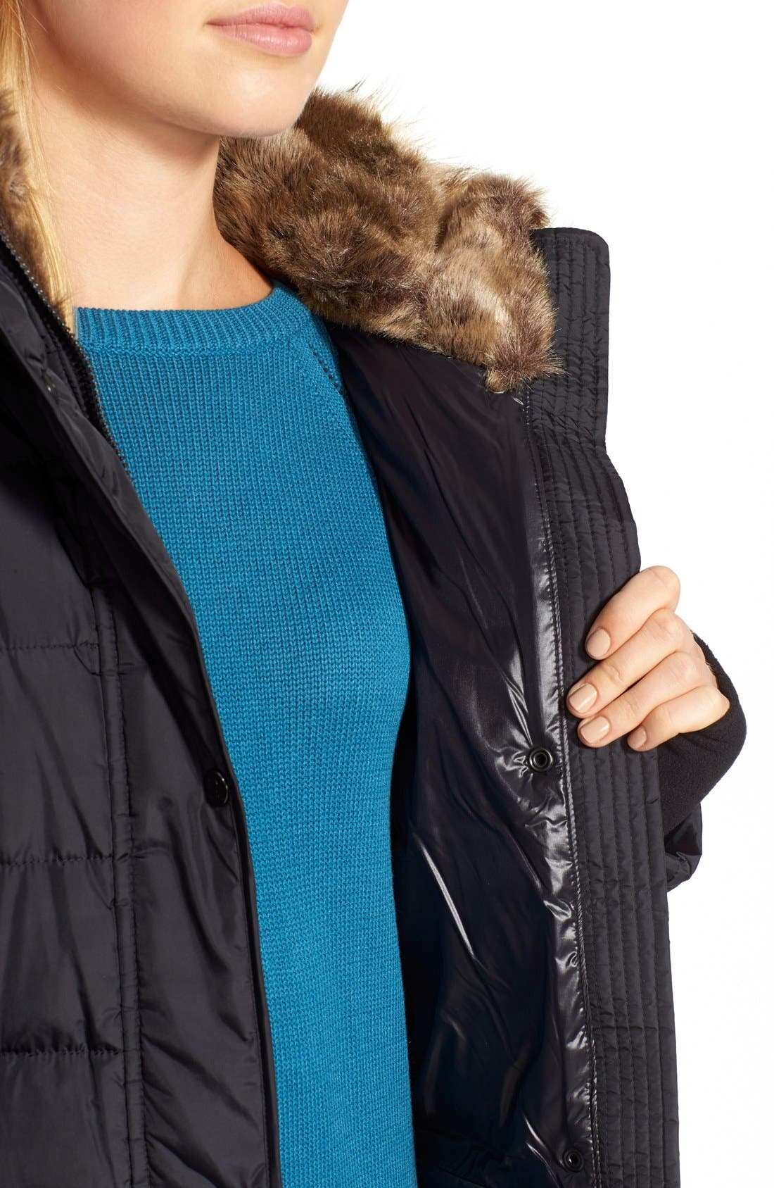 NYC 'Lexington' Faux Fur Trim Belted Hooded Long Quilted Coat,                             Alternate thumbnail 6, color,                             001