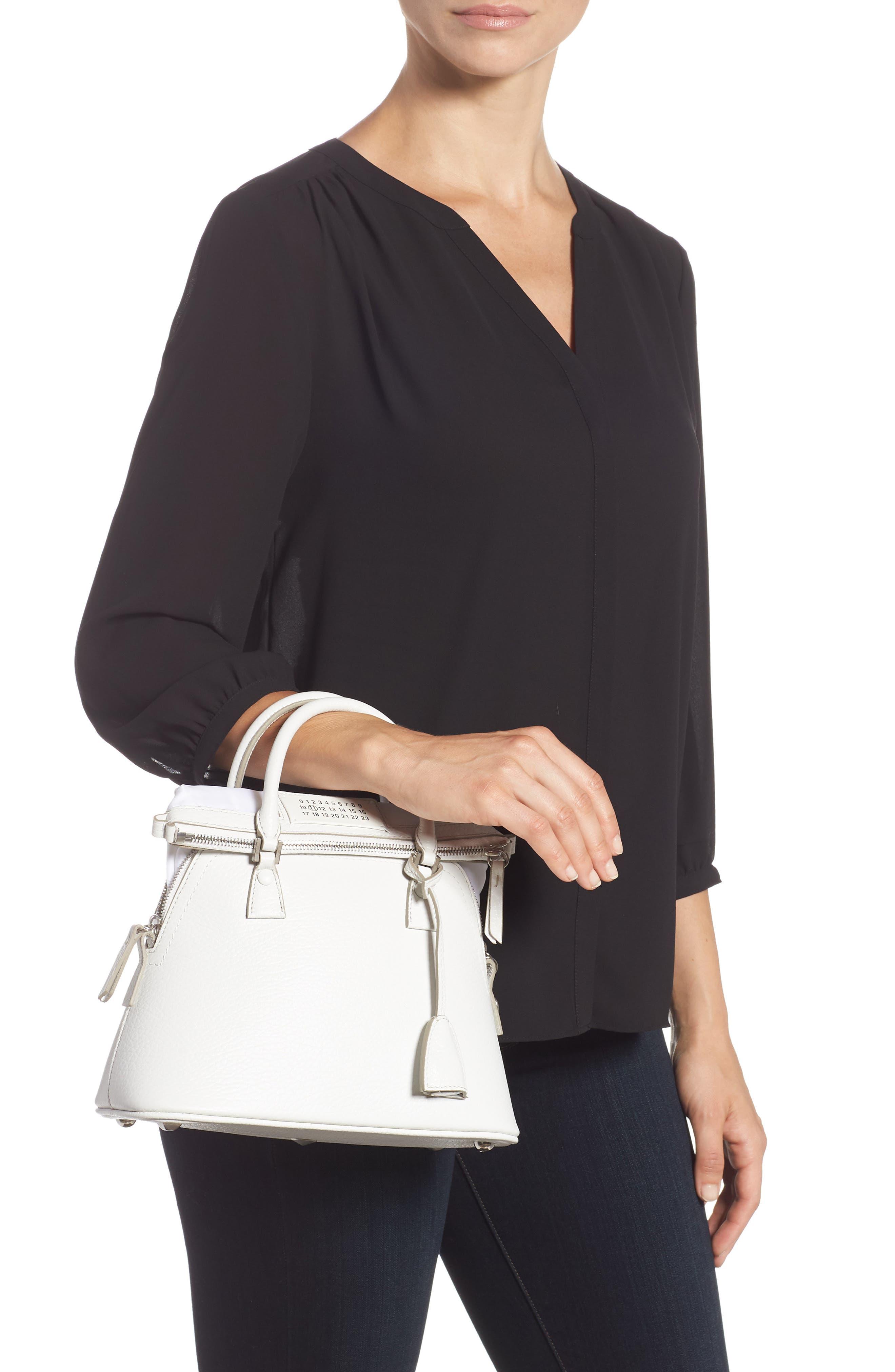 Small 5AC Calfskin Leather Handbag,                             Alternate thumbnail 2, color,                             WHITE