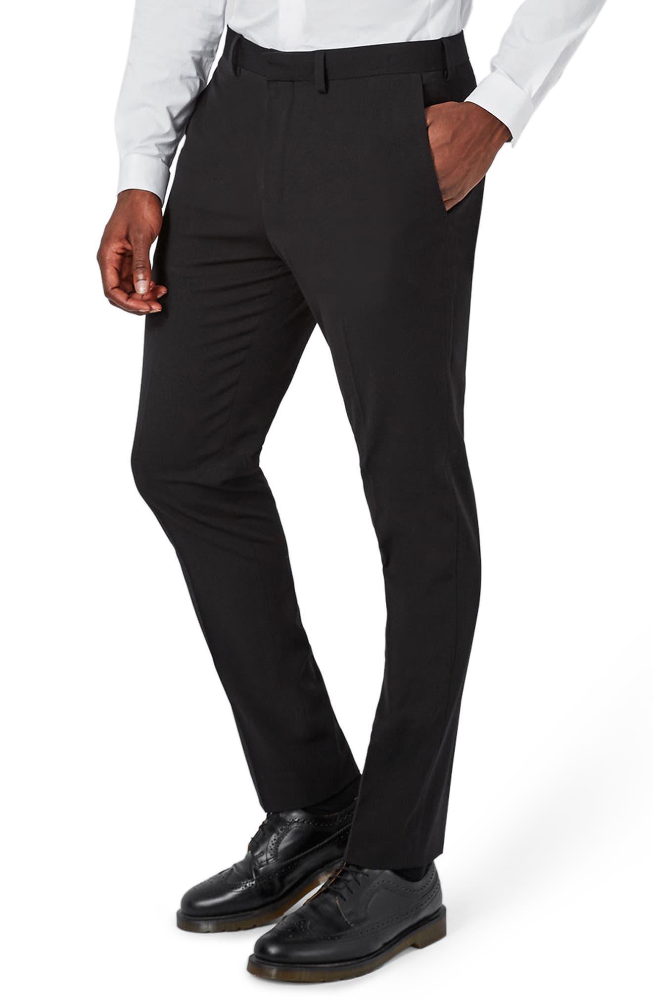 Muscle Fit Suit Trousers,                         Main,                         color, BLACK